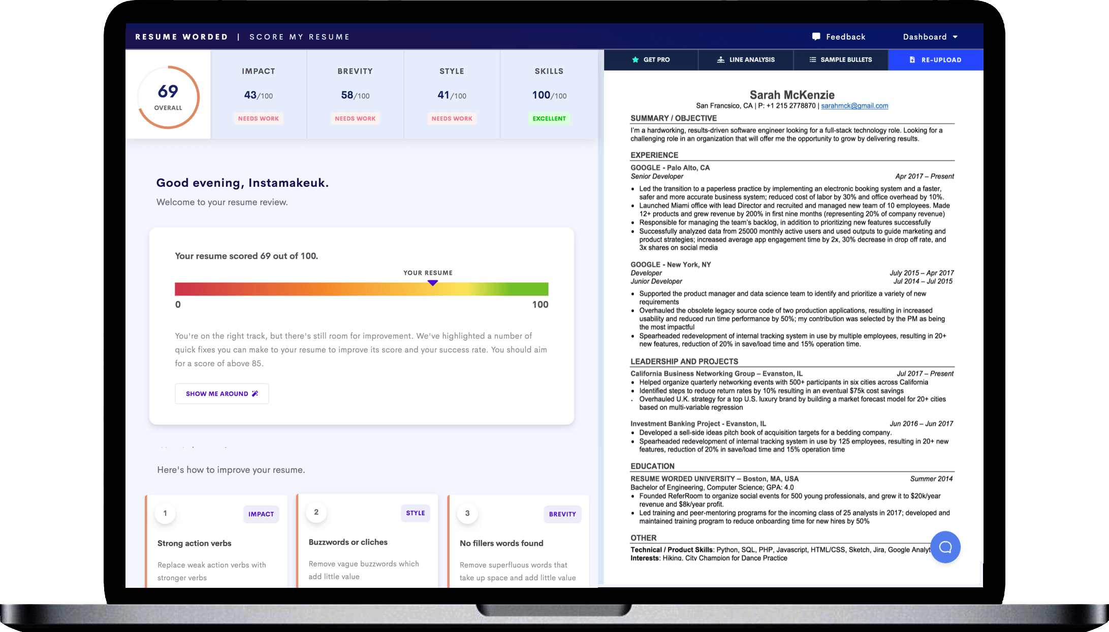 Get a free CV review instantly. Powered by Artificial Intelligence, the platform generates a CV report that looks like this.