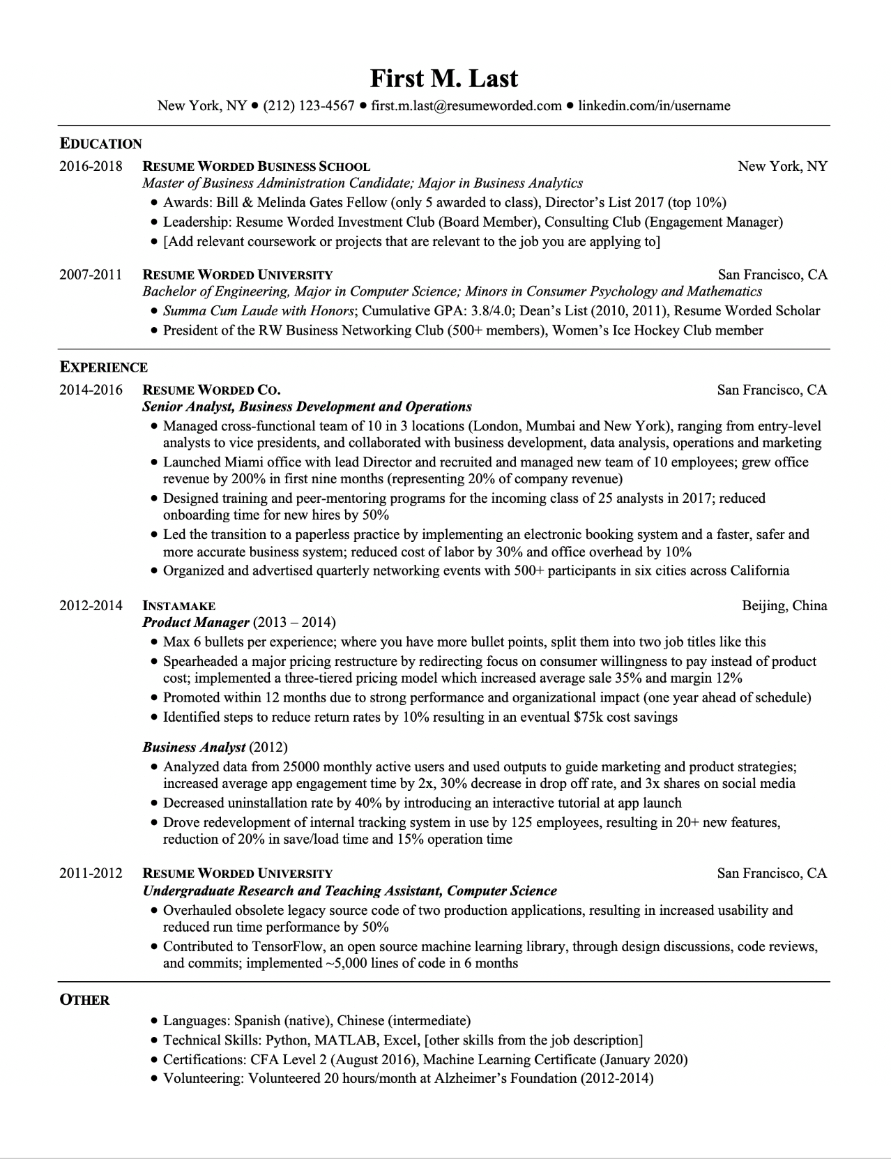 Professional ATS Resume Templates for Experienced Hires and College