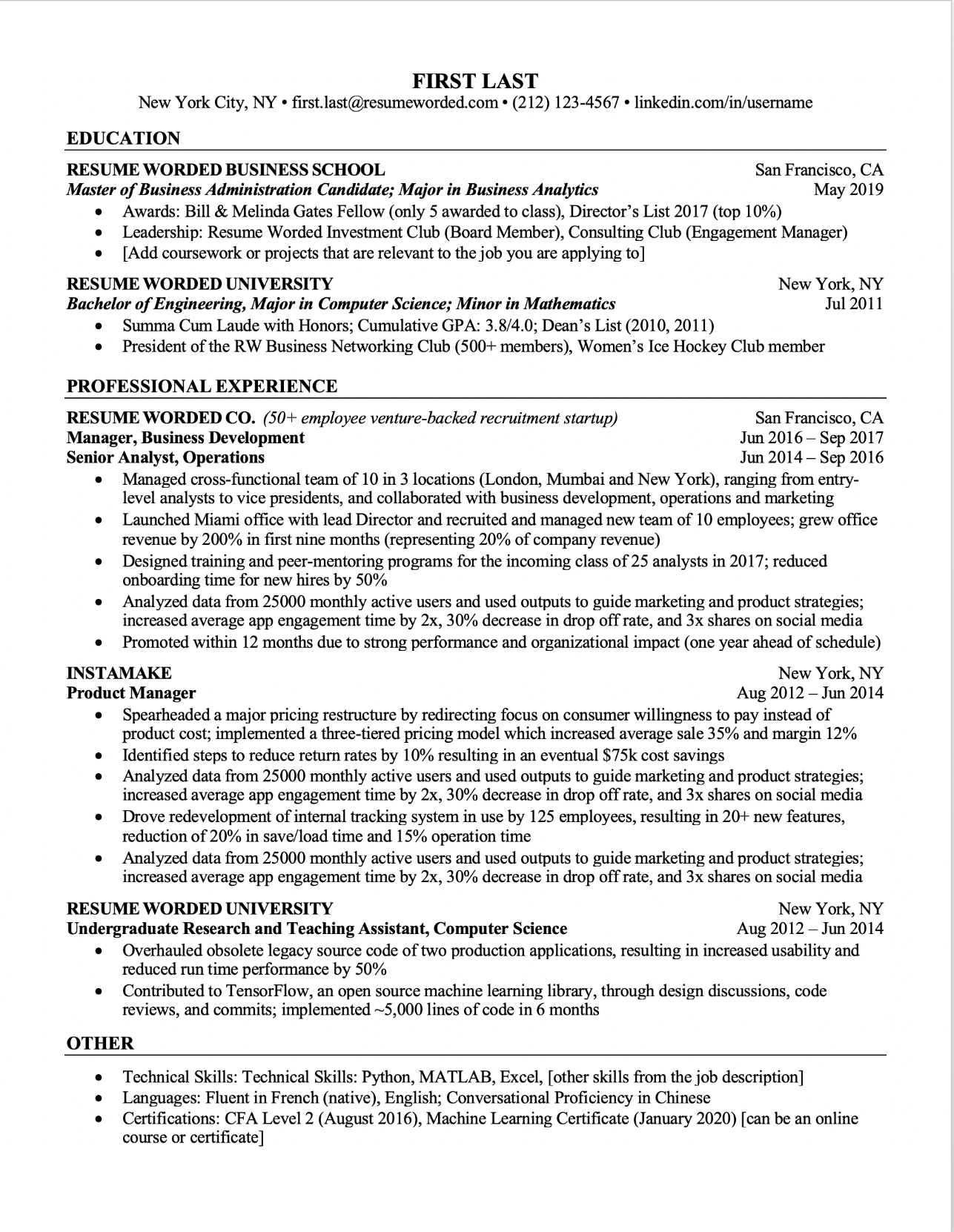 Professional ATS Resume Templates for Experienced Hires and College Students or Grads  for free