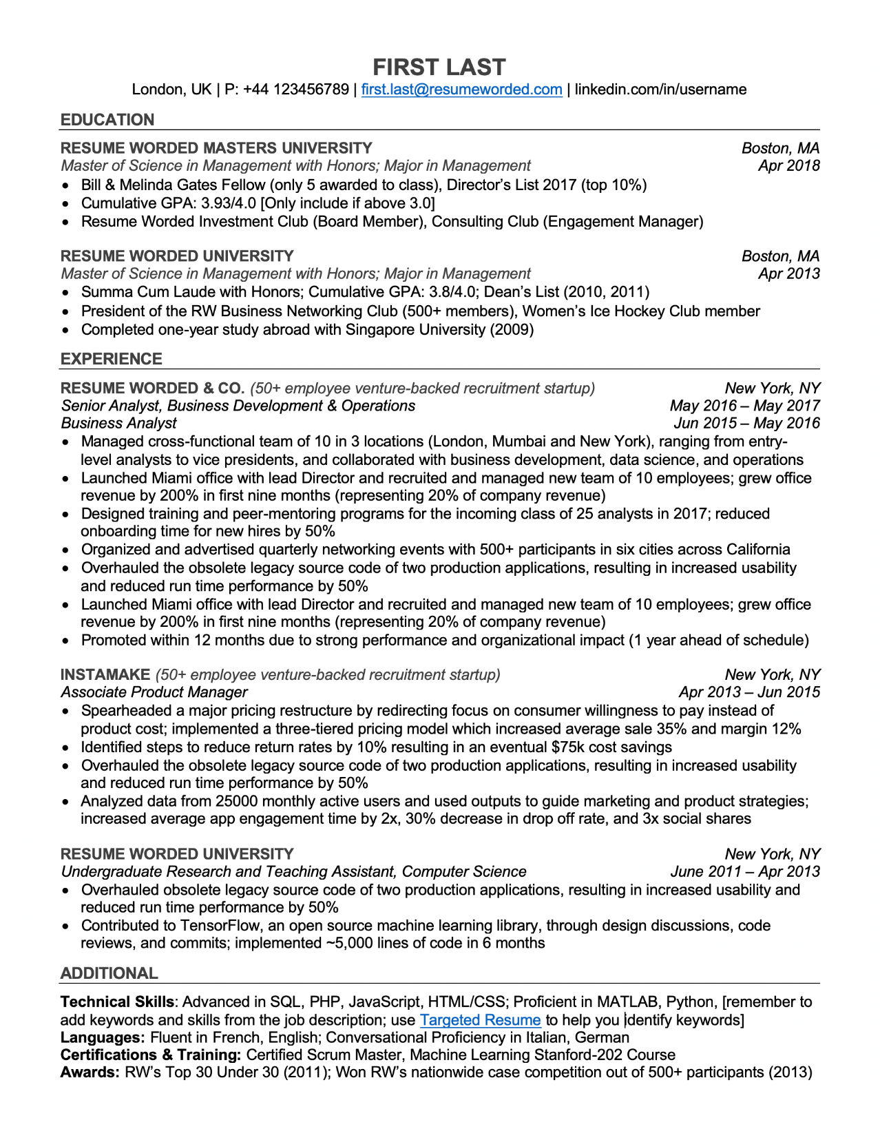 Professional ATS Resume Templates