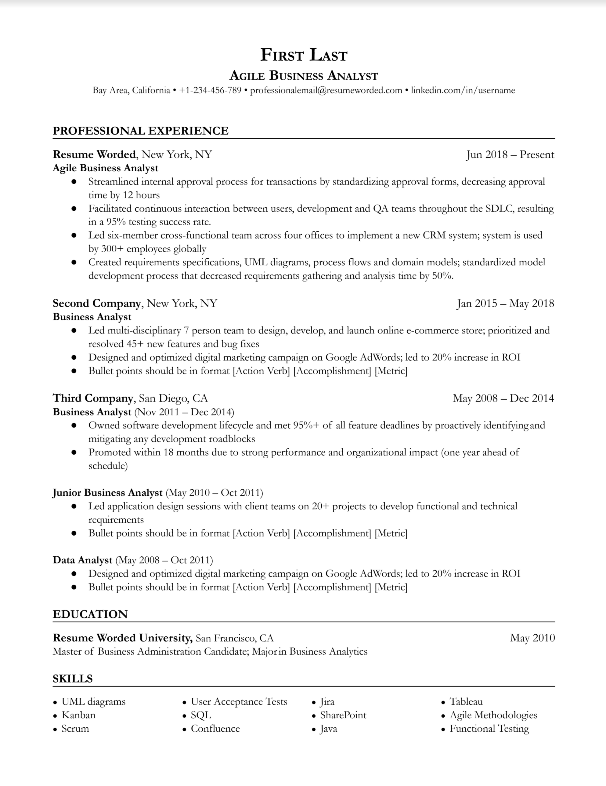 Agile business analyst resume with work history and strong verbs