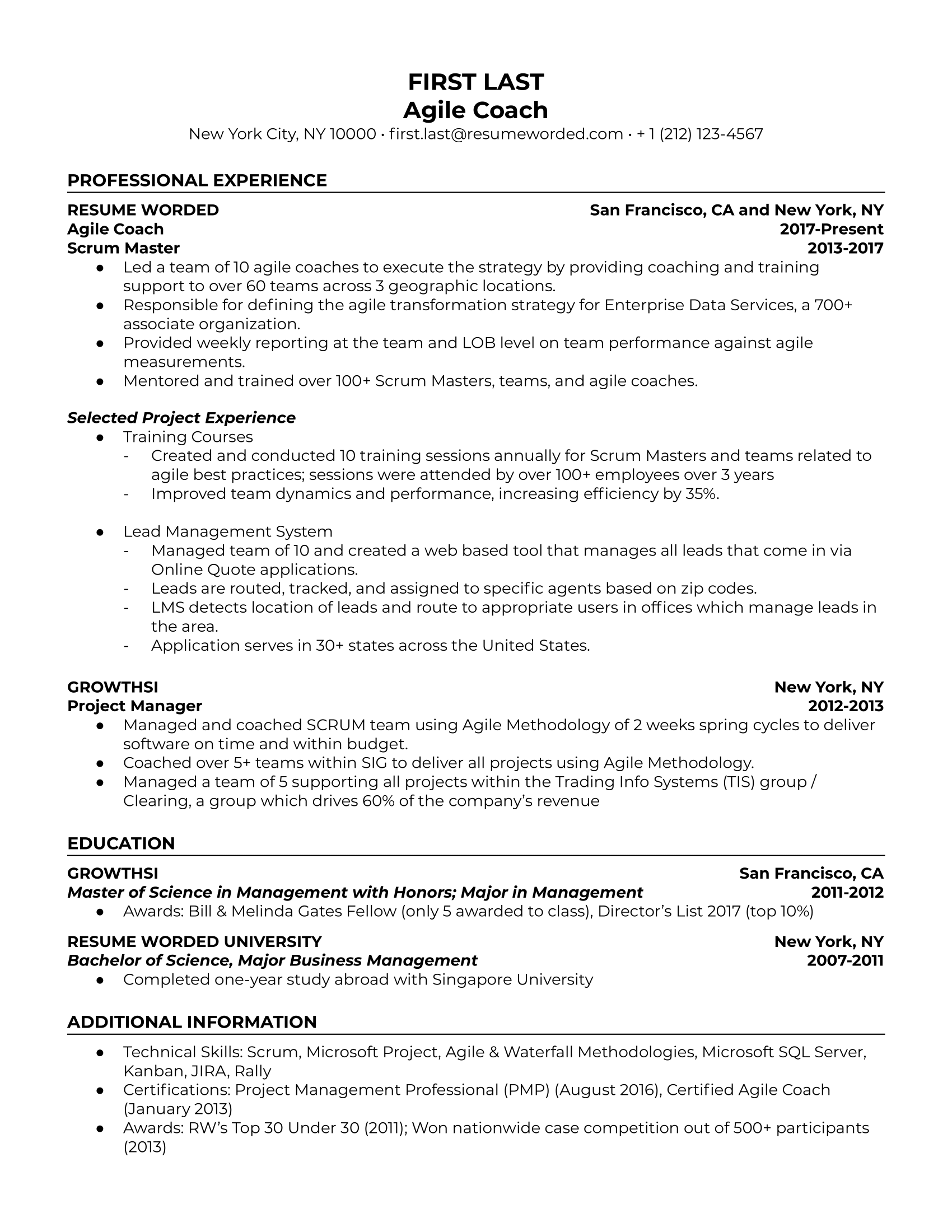 Agile Coach Resume Sample