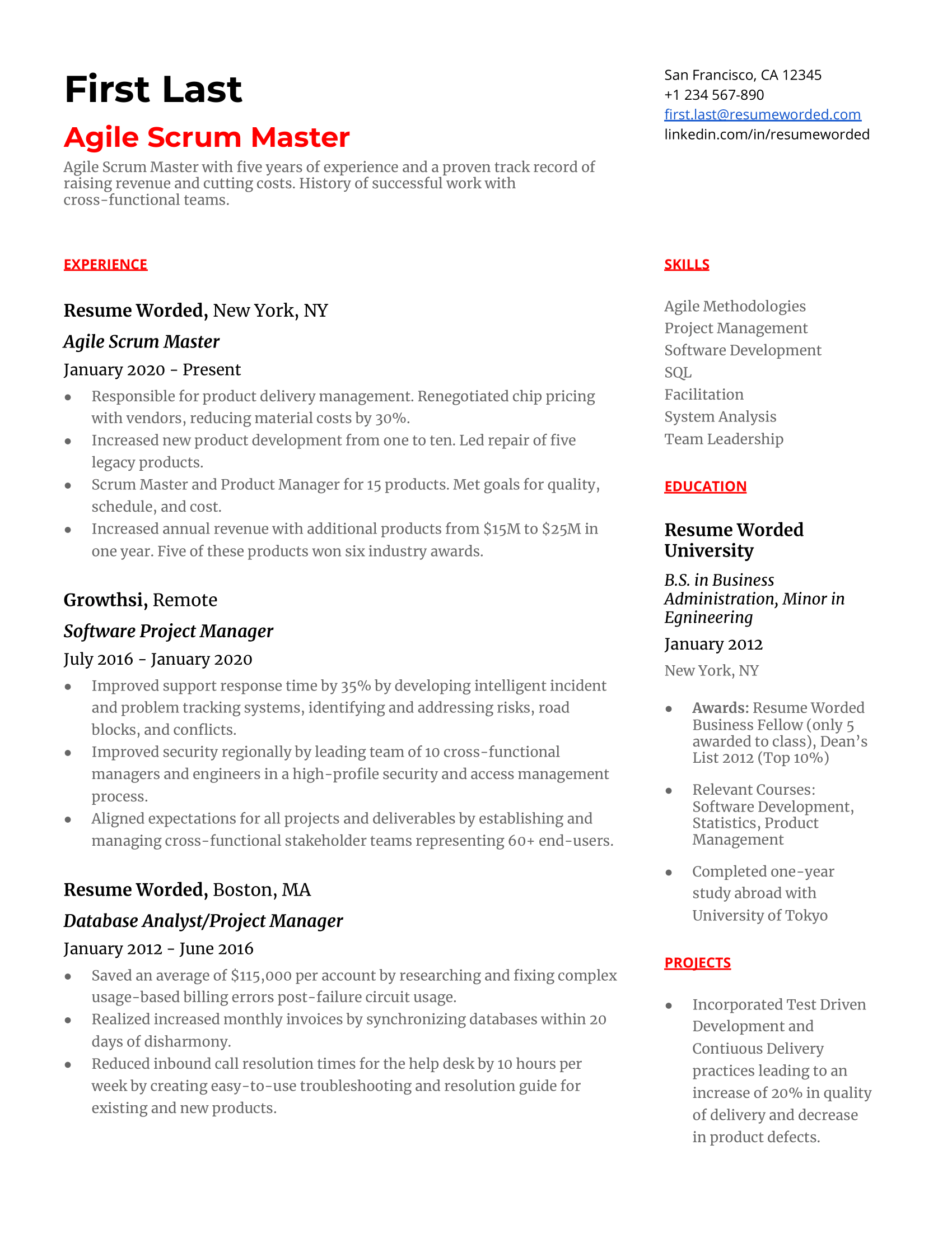 An agile scrum master resume with a brief summary, three most recent and relevant work experiences, education, skills, and other.