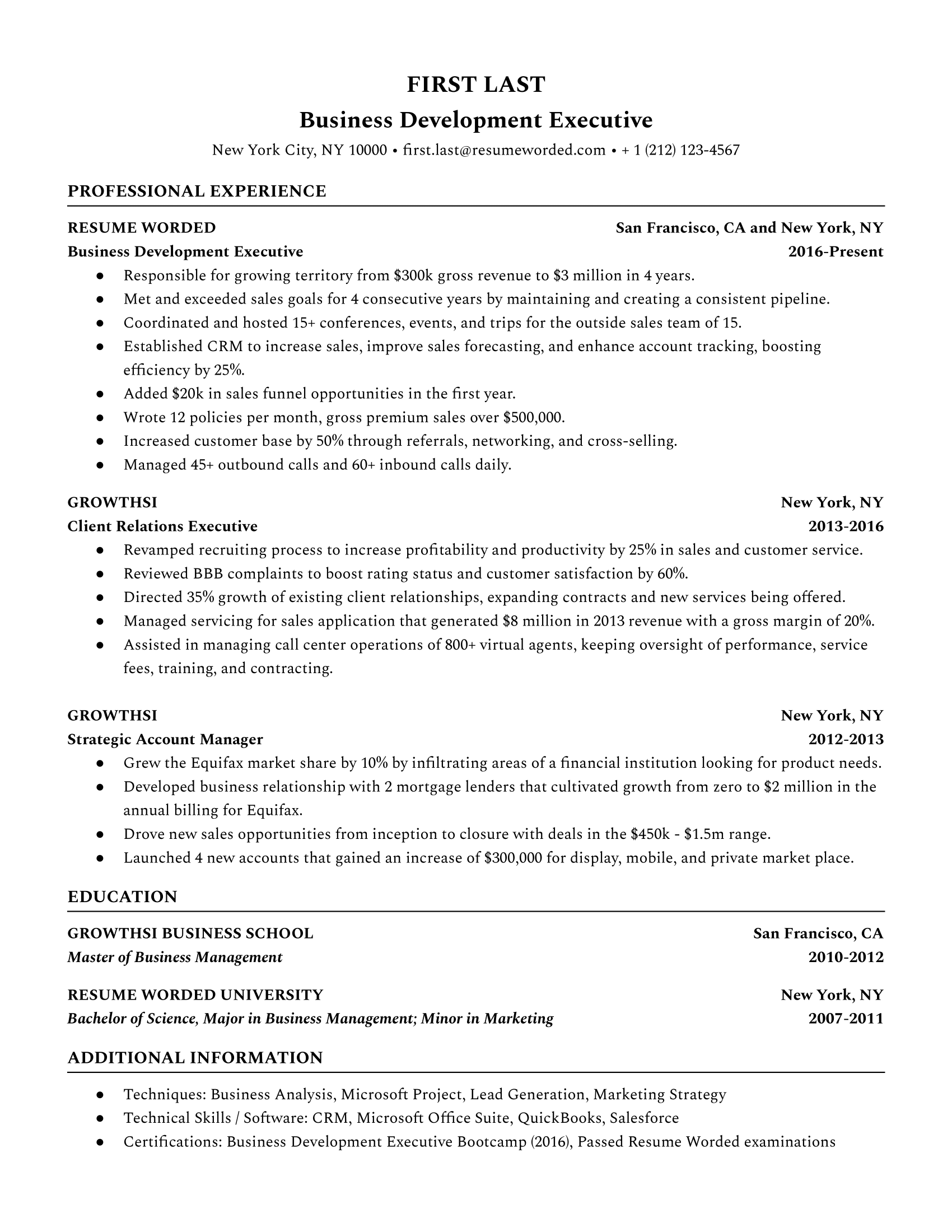 business development executive resume sample
