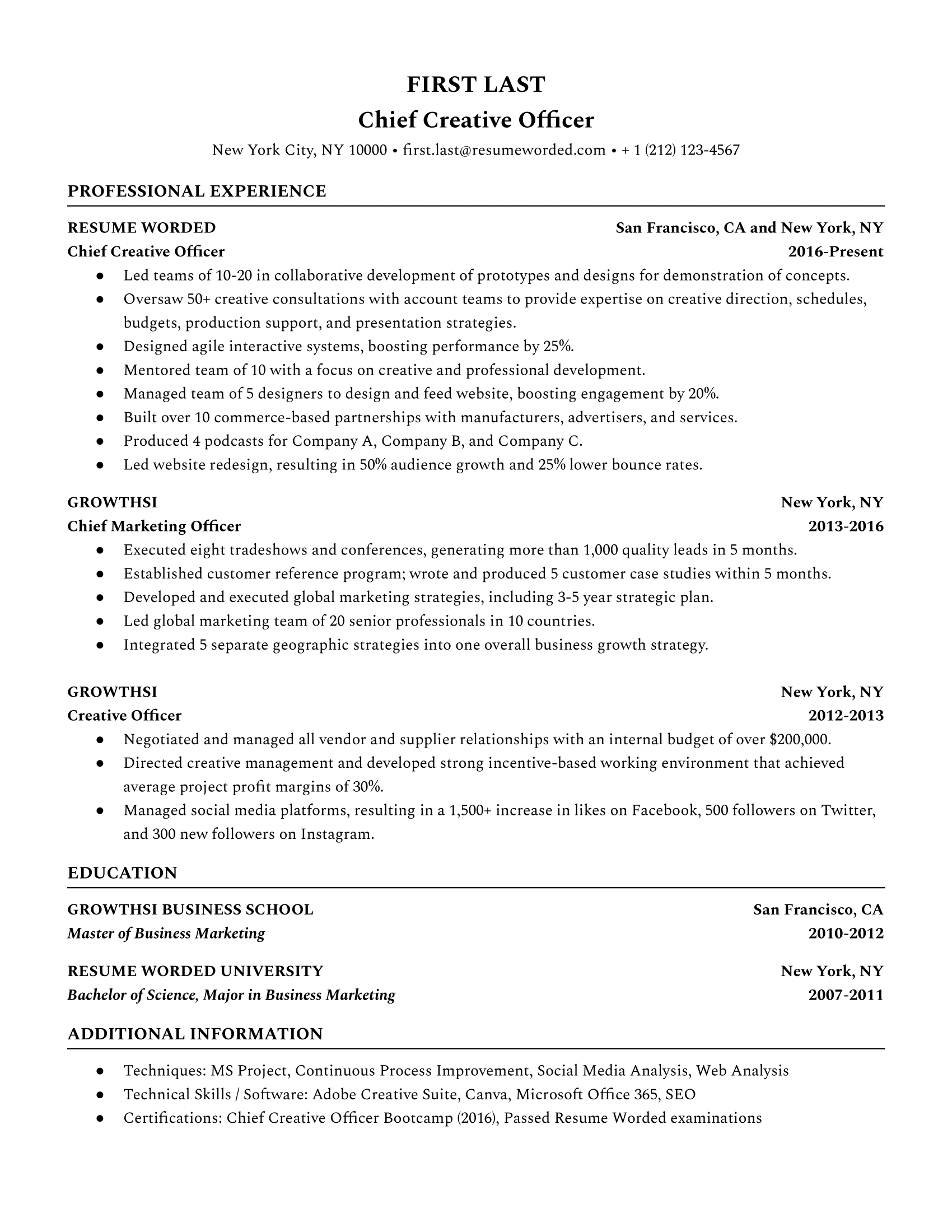 Chief Creative Officer Resume Sample