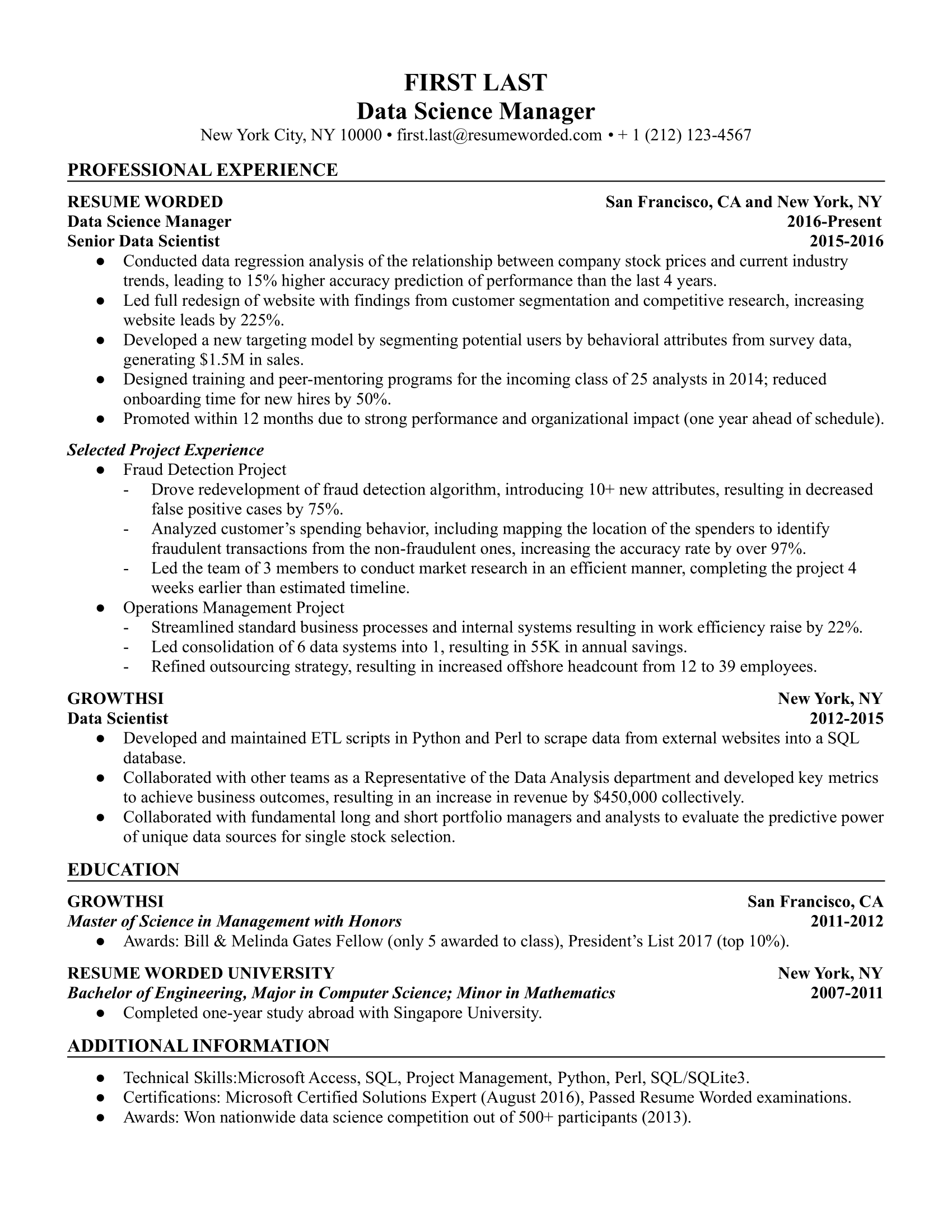Data Science Manager Resume Sample