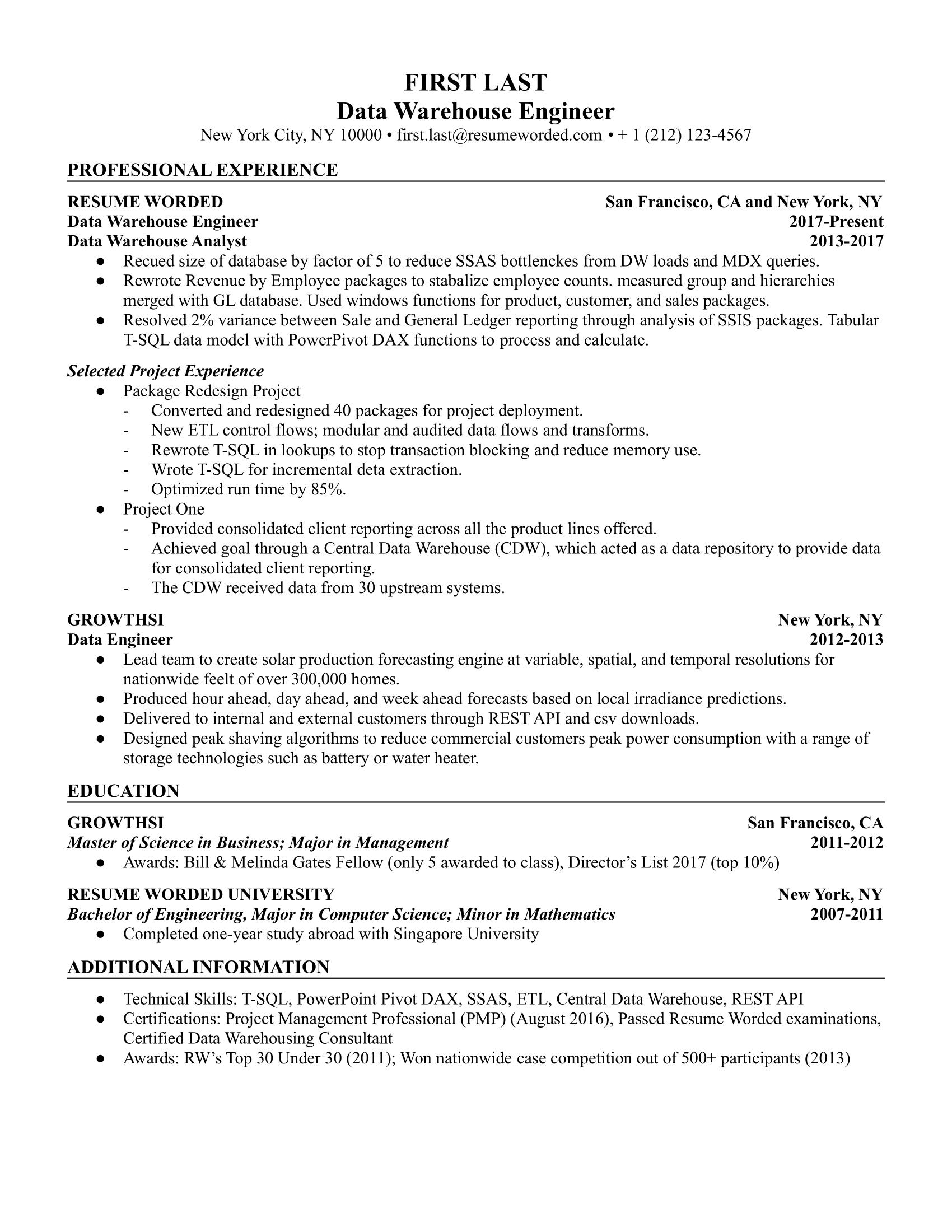 big data engineer resume example for 2021  resume worded
