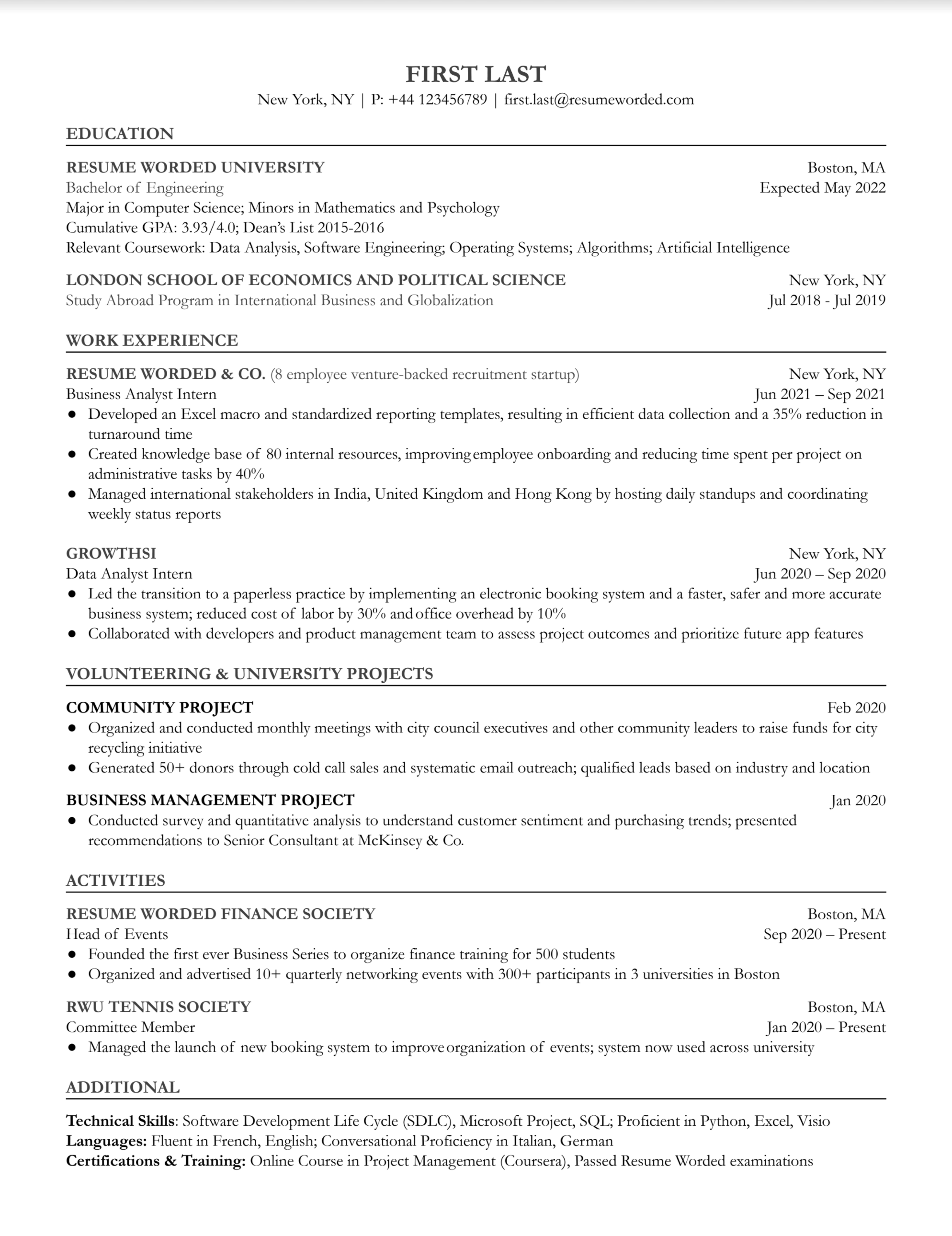 Entry level business analyst resume with education history, internship experience, and relevant projects