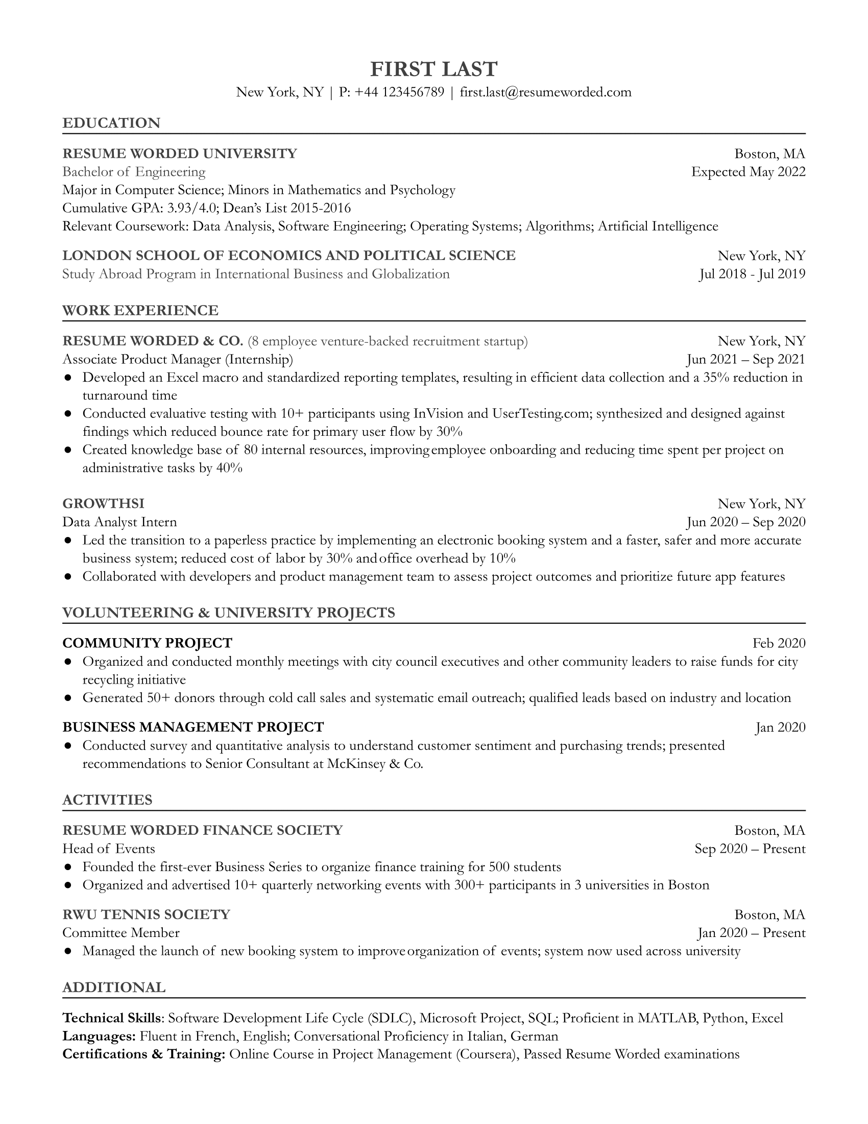 Entry Level Product Manager Resume Sample