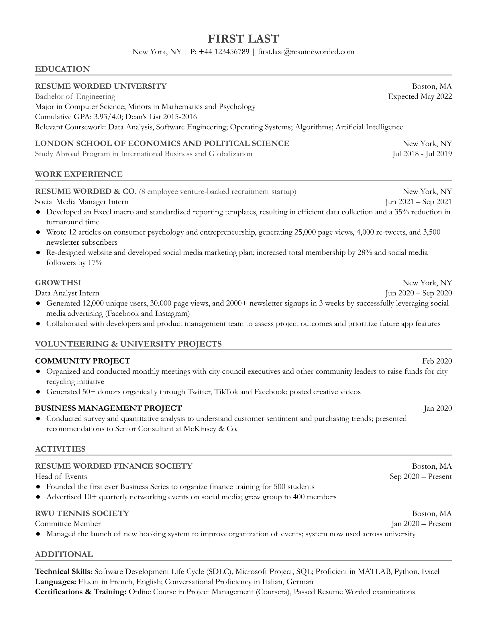 Entry level social media resume that focuses on education and internships