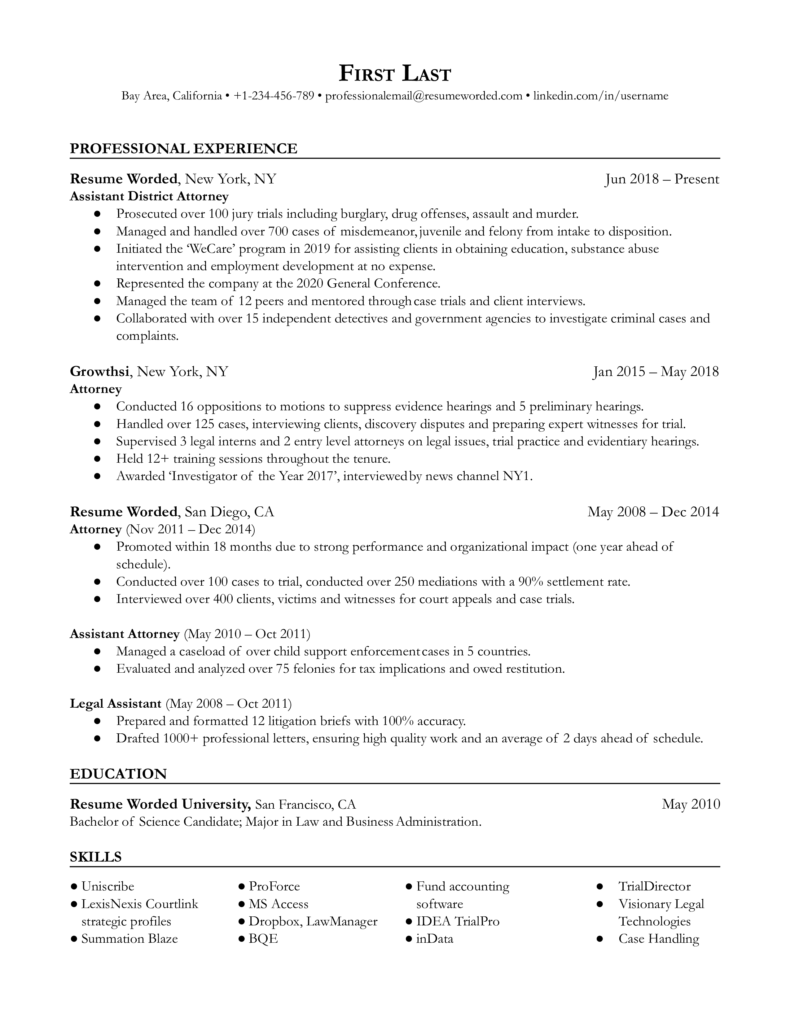 Experienced Attorney Resume Example For 2021 Resume Worded