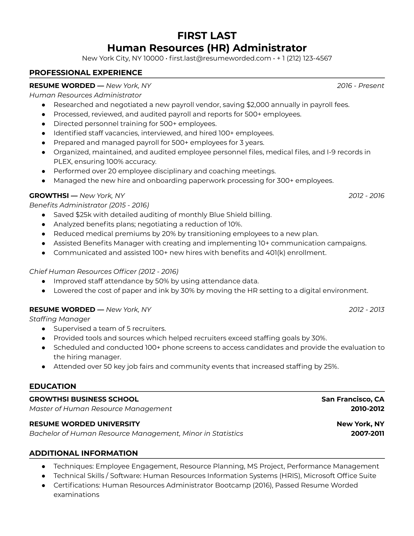 Human Resources (HR) Administrator Resume Sample