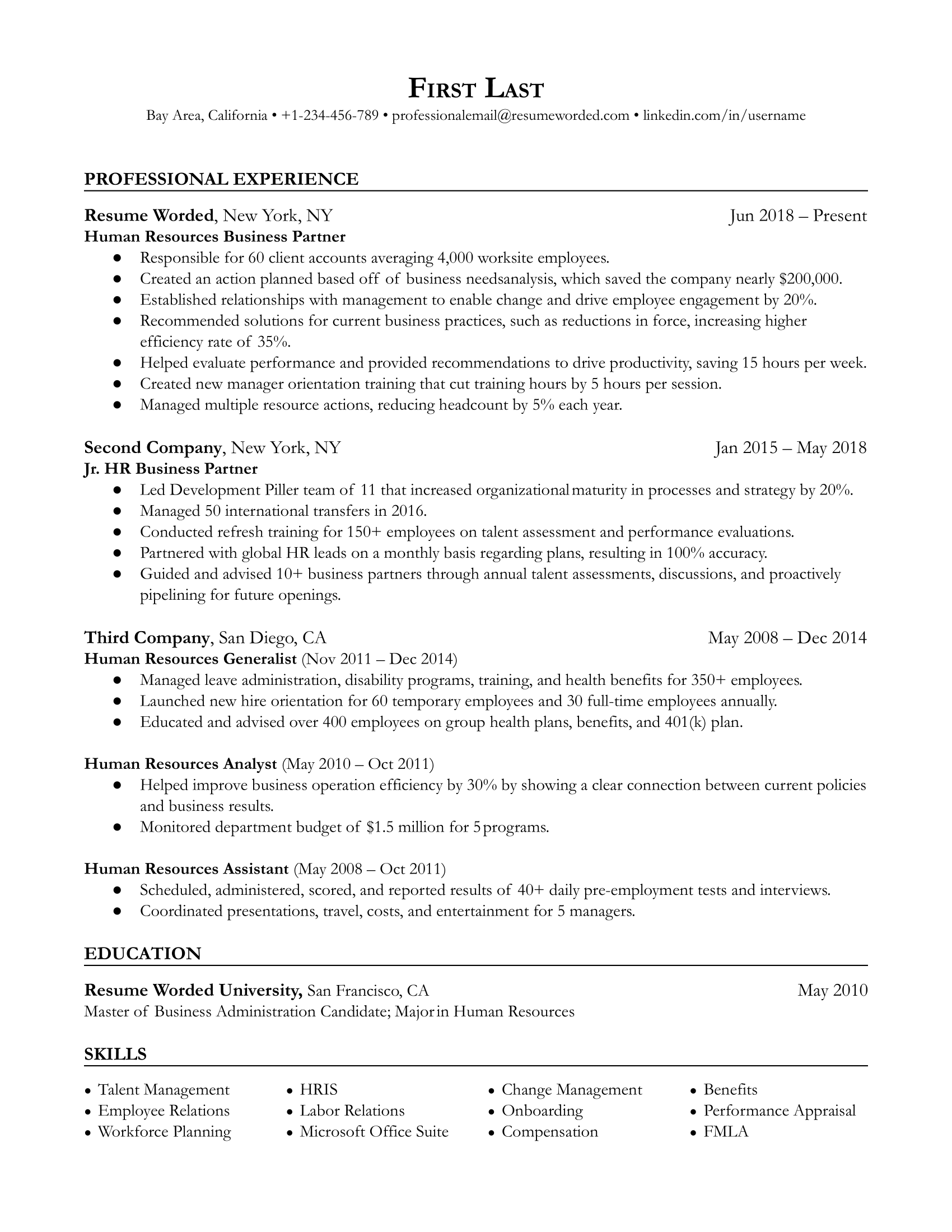 Human Resources (HR) Business Partner Resume Sample