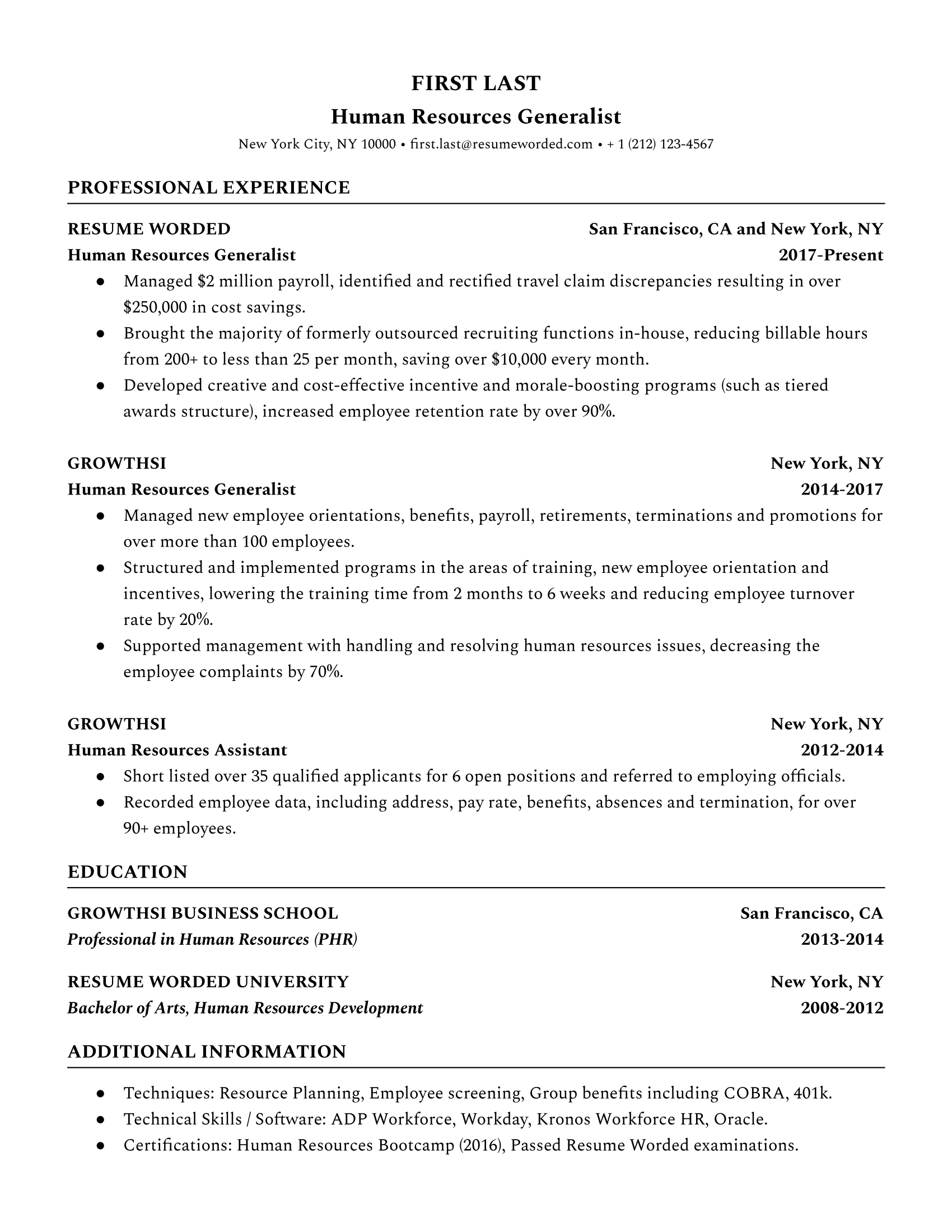 Human Resources (HR) Generalist Resume Sample