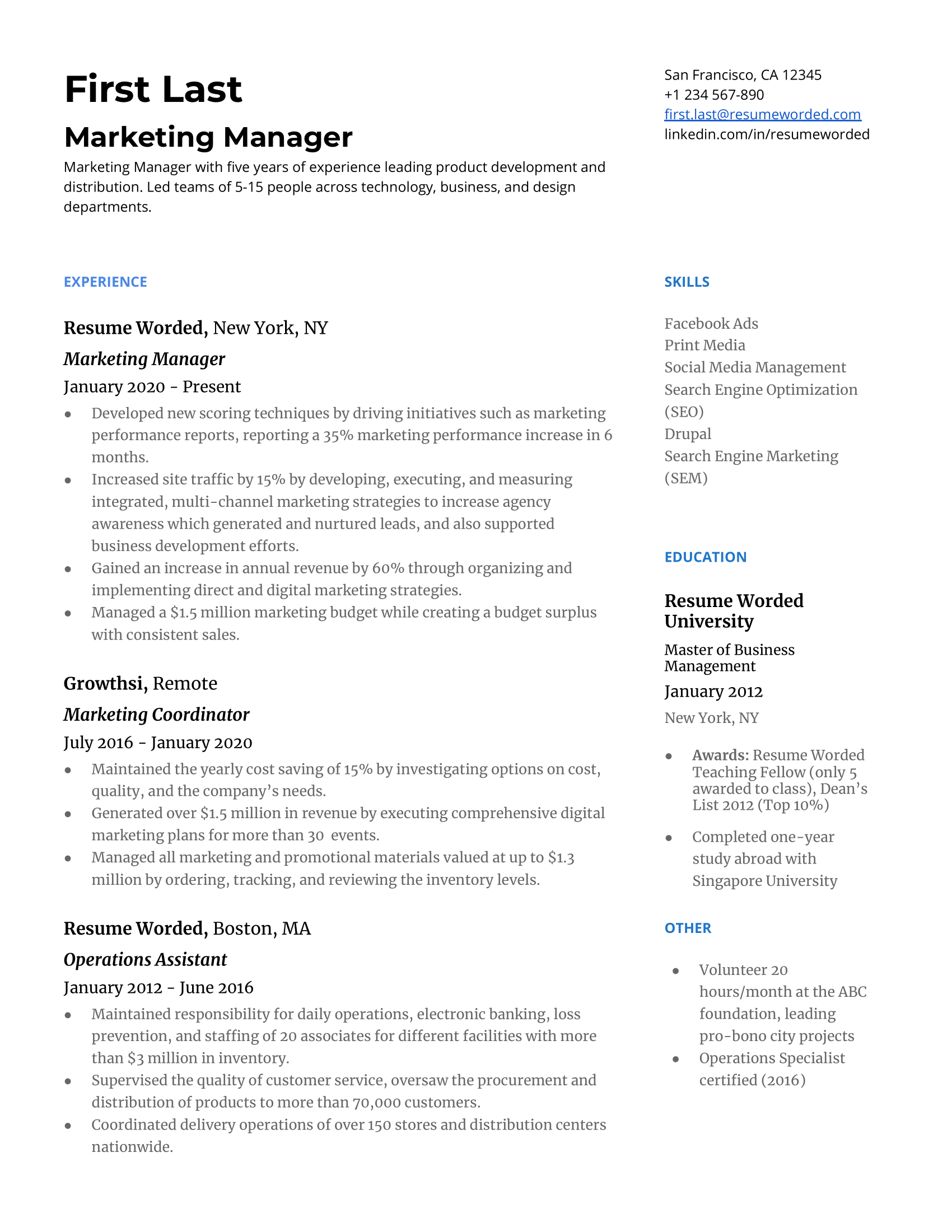 Marketing manager resume manual writers term papers