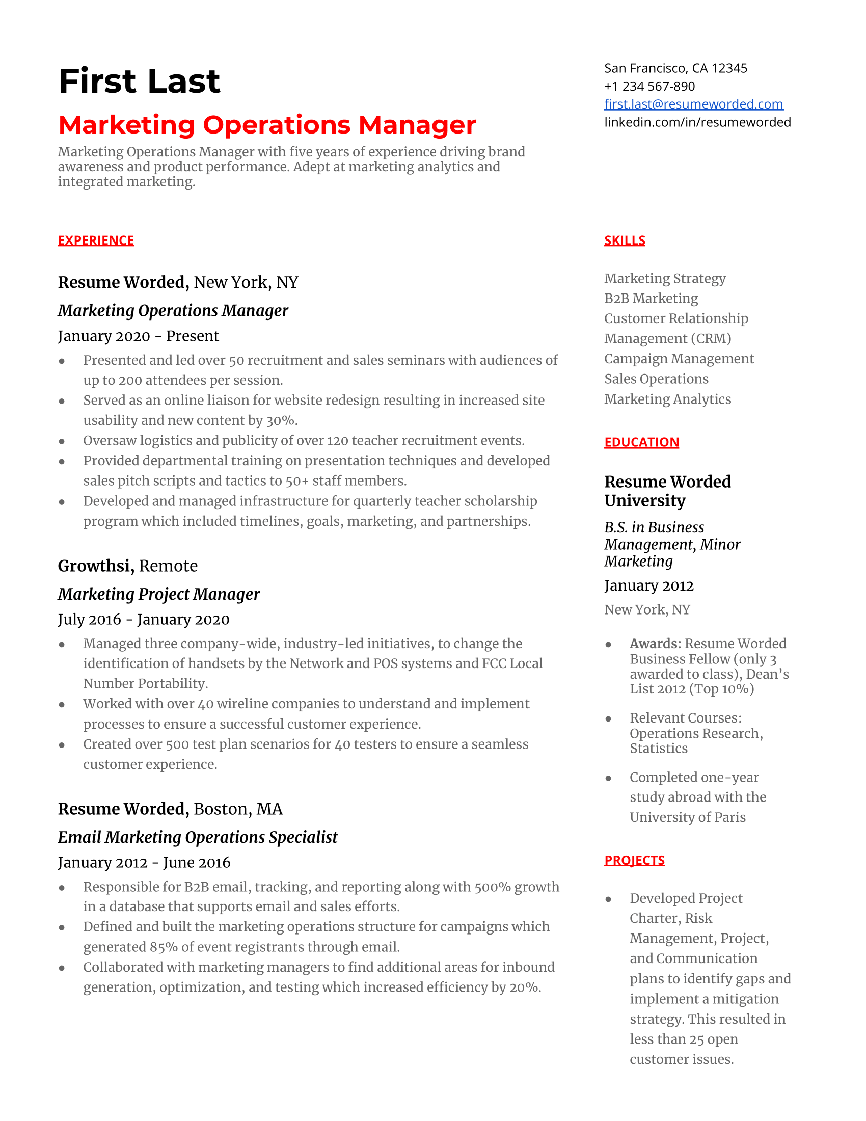 Marketing Operations Manager Resume Sample
