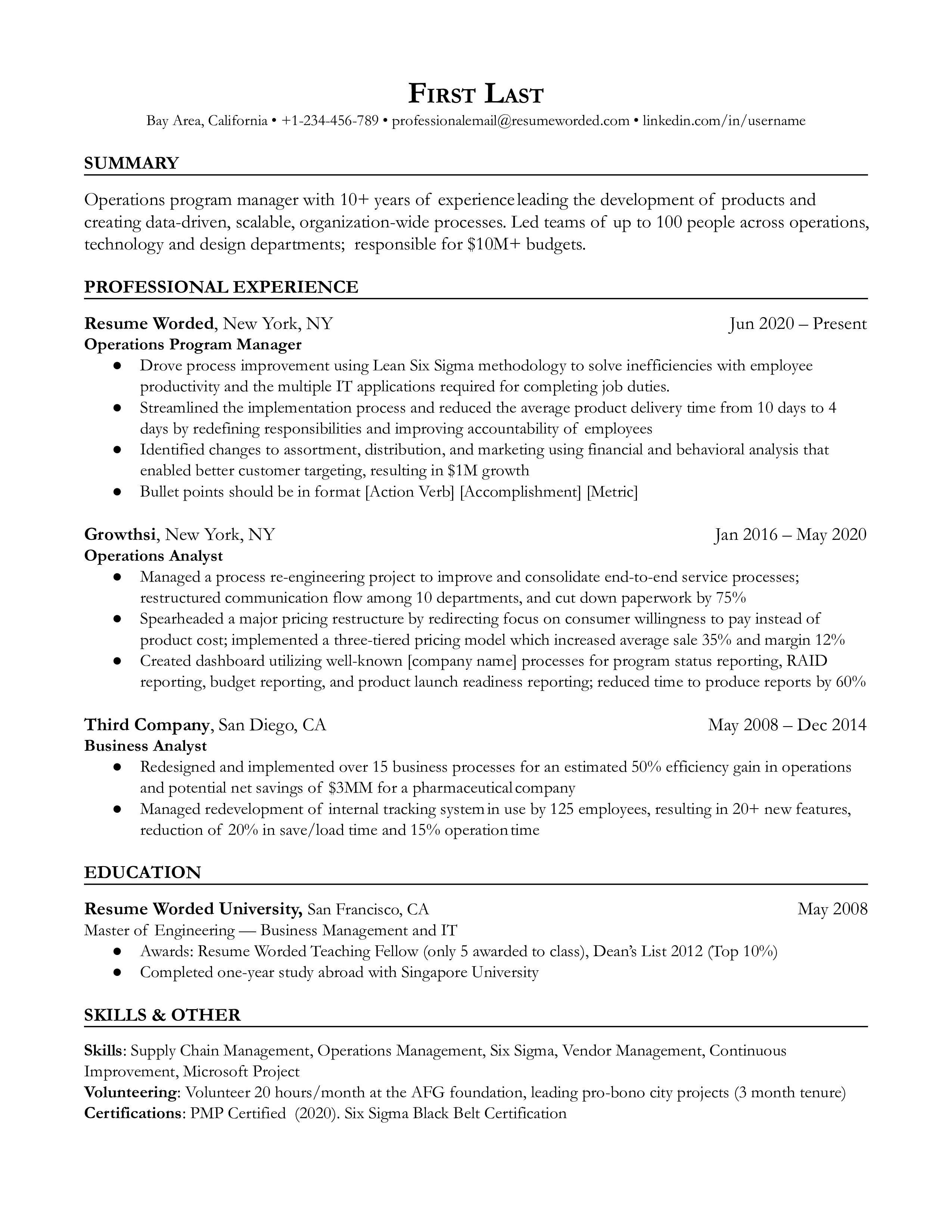 A technical program manager resume template with quantifiable achievements, simple bullet points and sub bullet points, technical skills and relevant certifications.