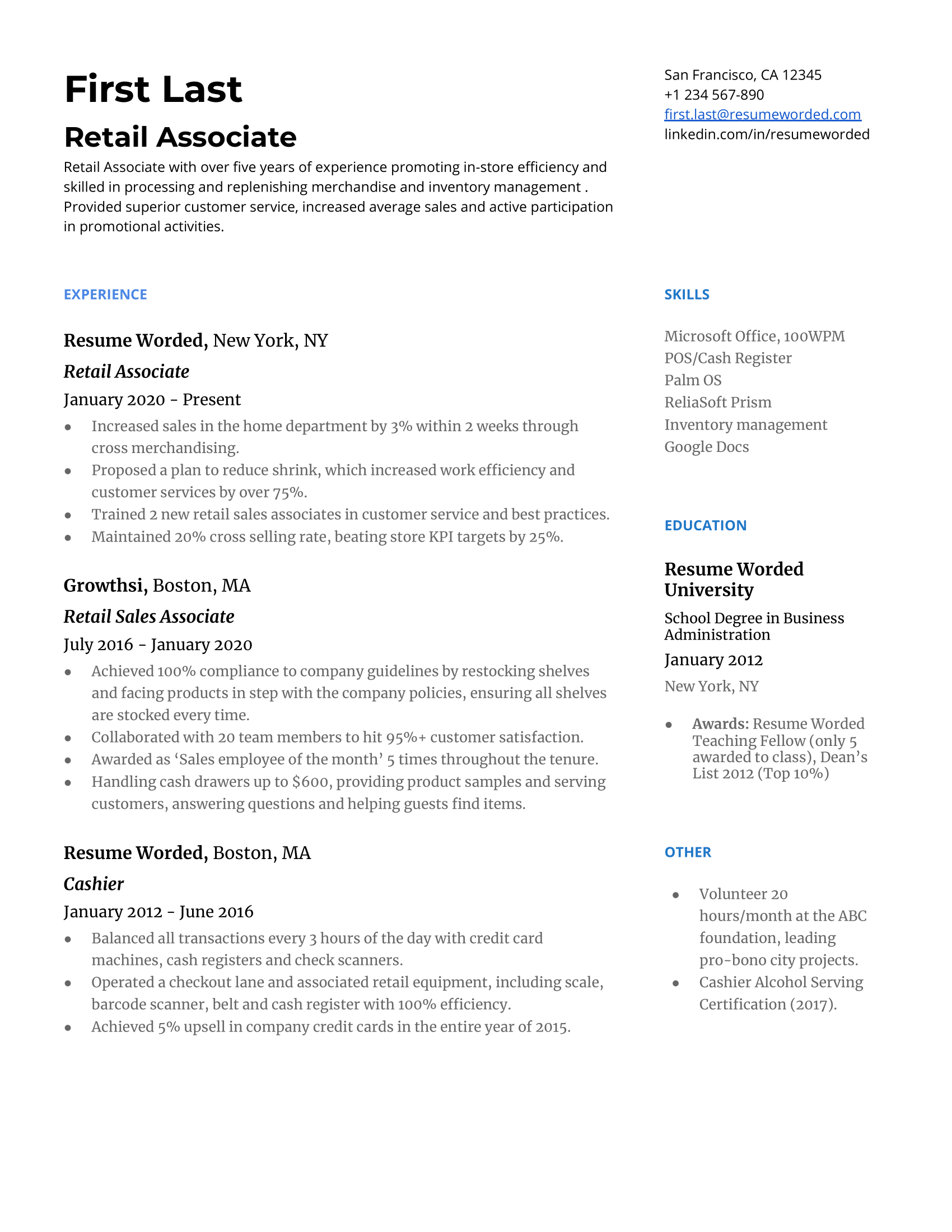 Retial resume best essays ghostwriter for hire for school