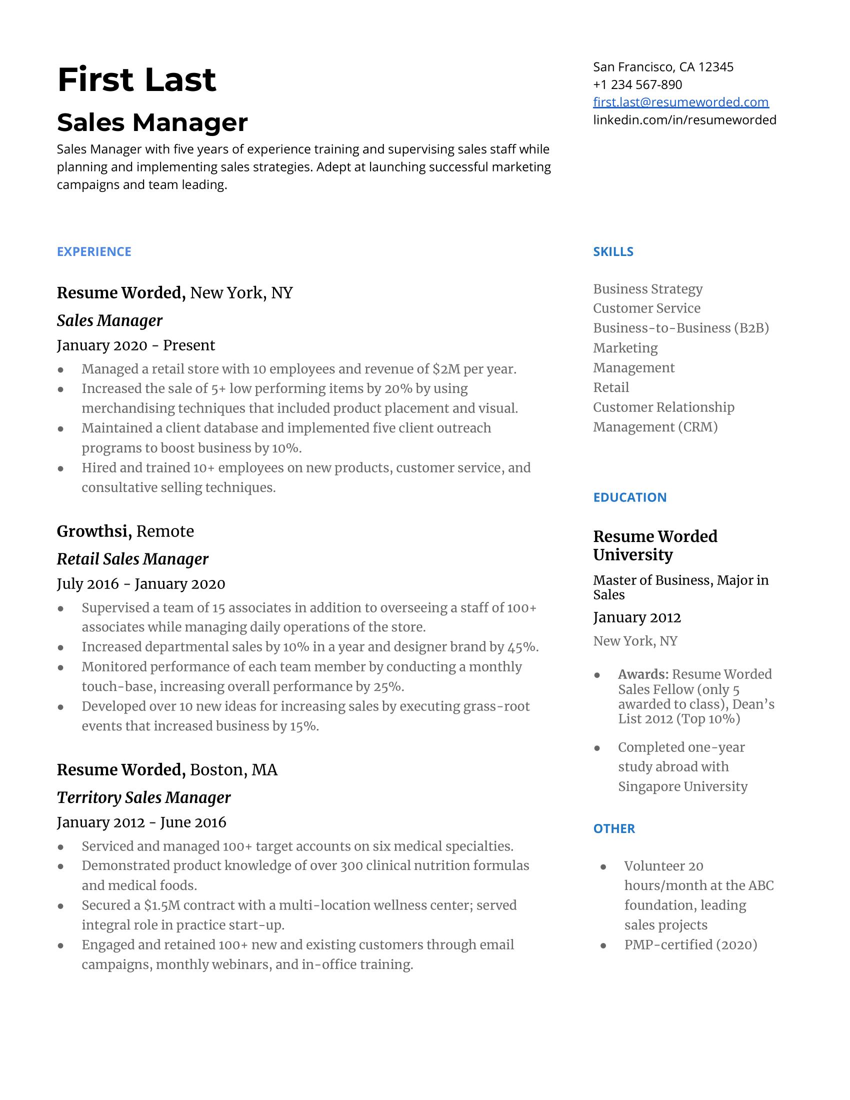 senior sales manager resume 2012