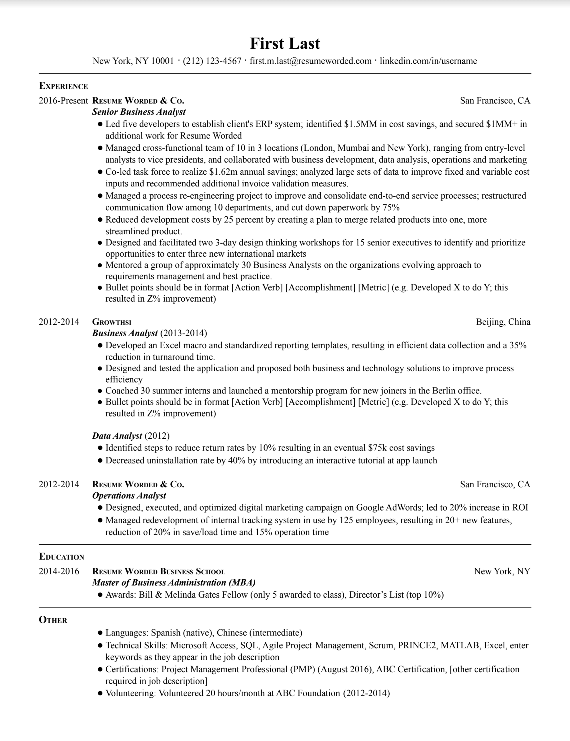 Senior business analyst resume with detailed work experience, bullet point accomplishments, and promotion