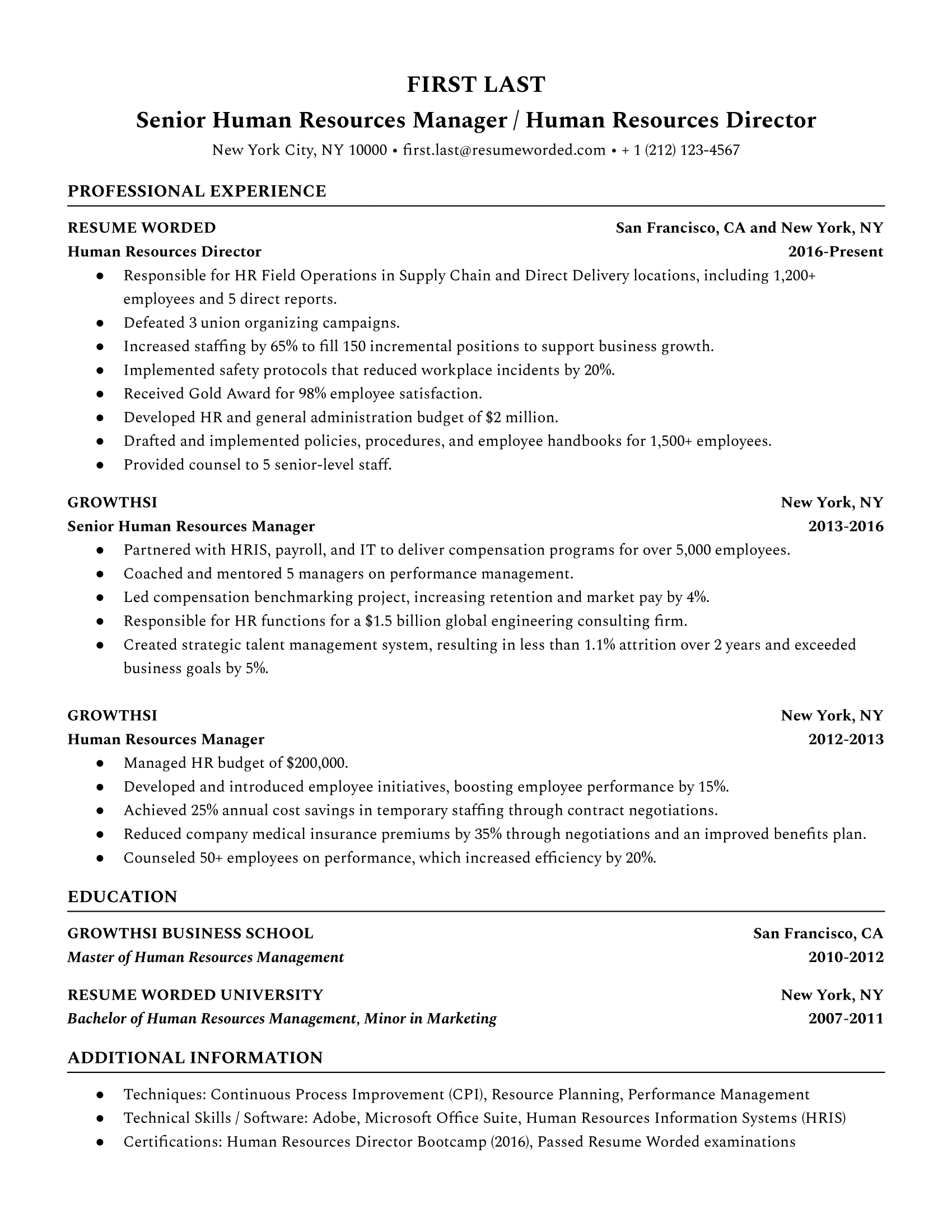 Senior Human Resources Manager/Human Resources Director Resume Sample