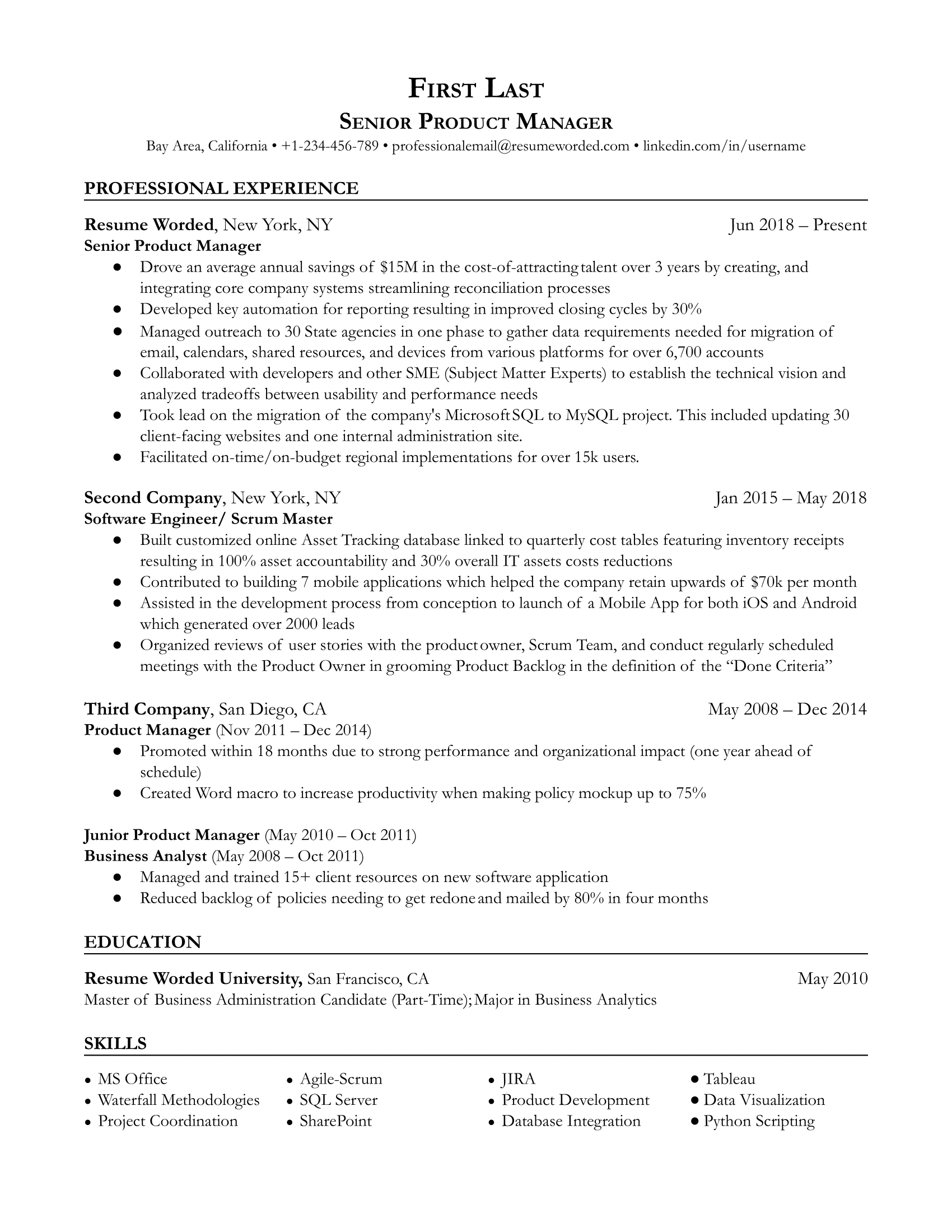 Senior Product Manager Resume Sample