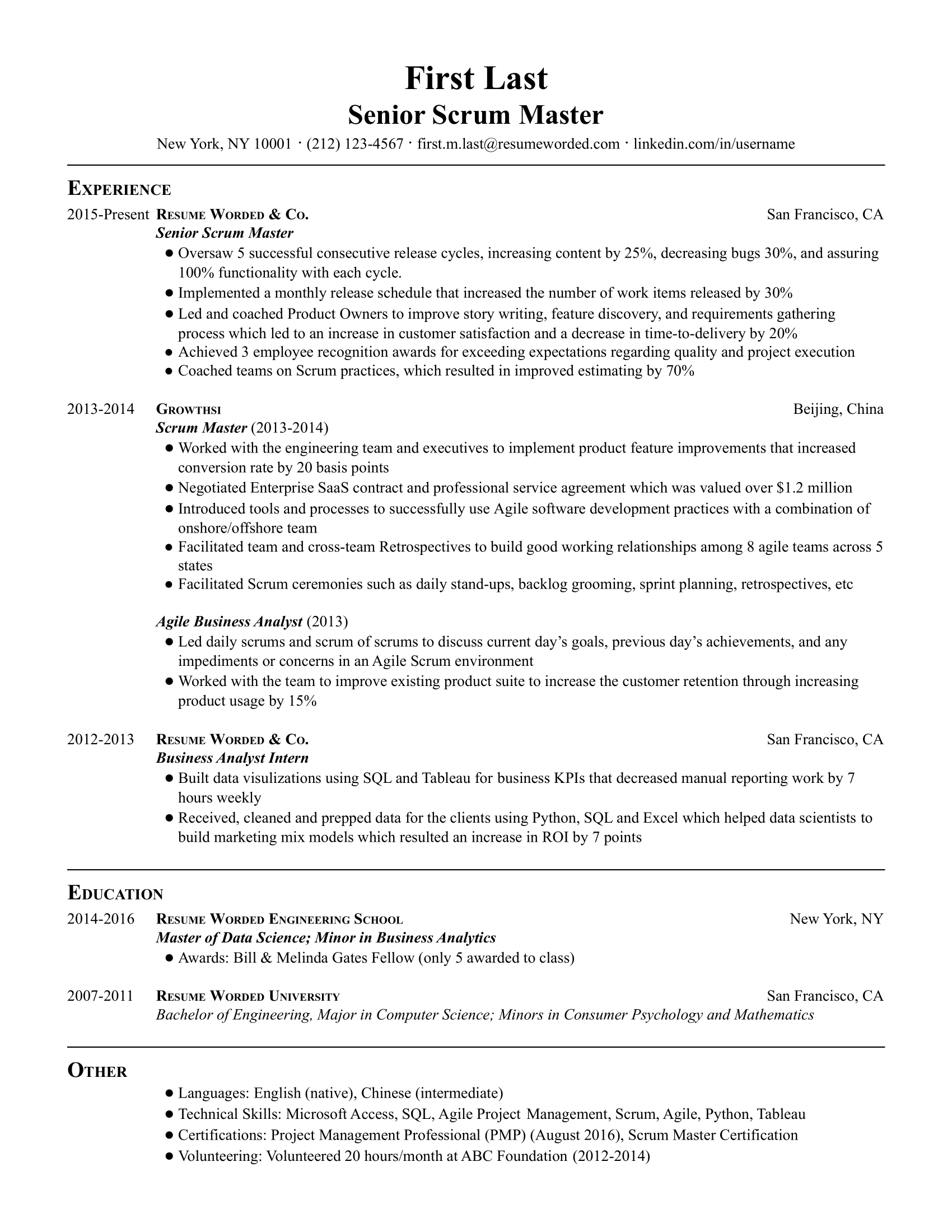 A senior scrum master resume with examples of longevity and promotion, bullet points with measurable achievements, and education to supplement the experience.