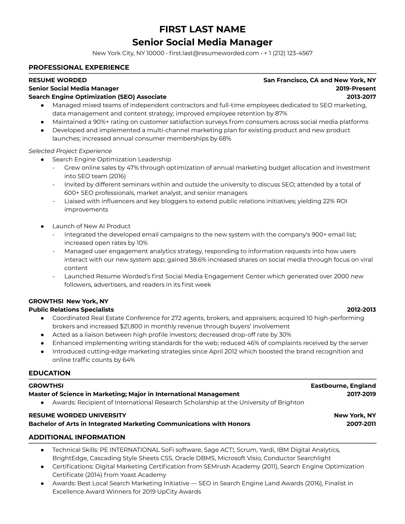 Social media manager resume example for a senior and more experienced role