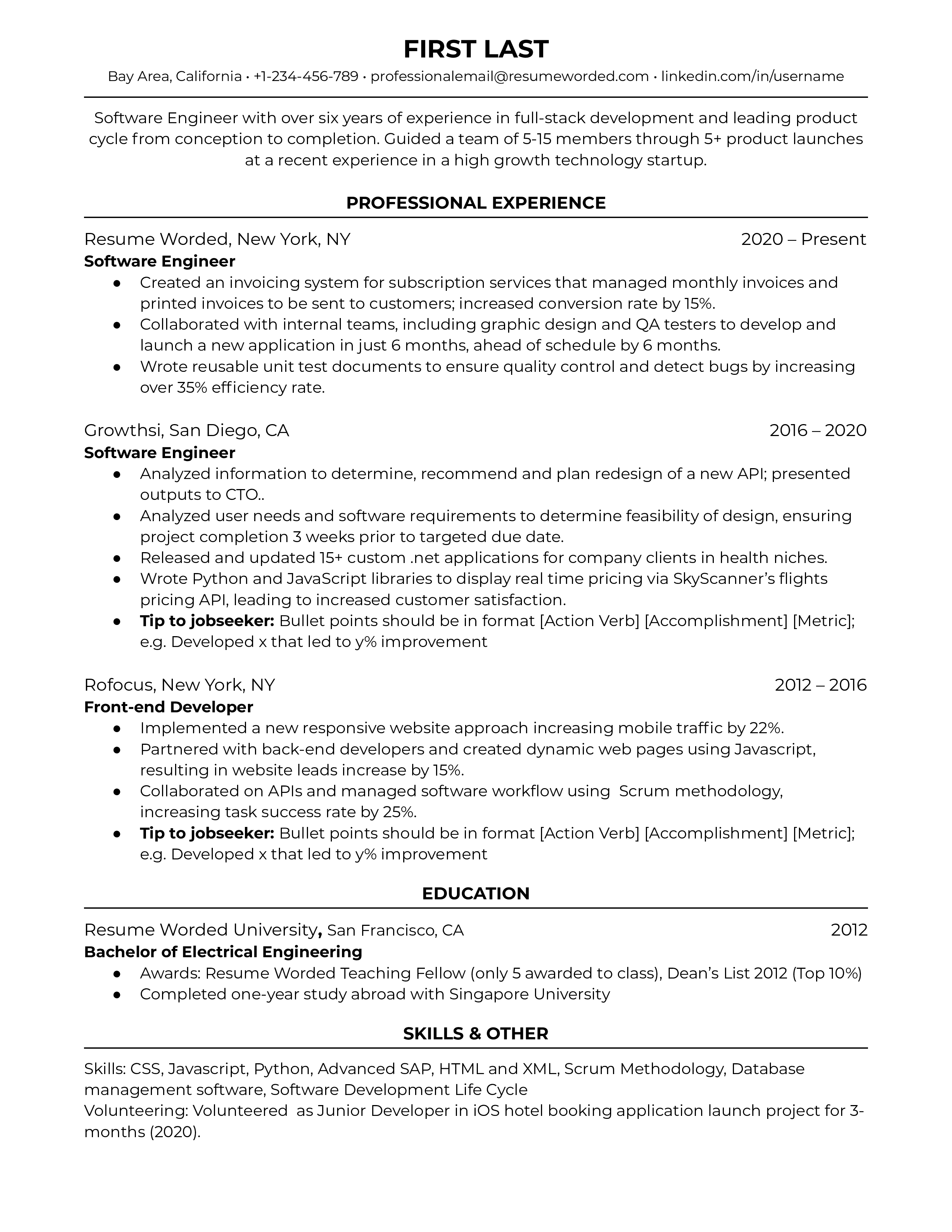 resume format for a software engineer