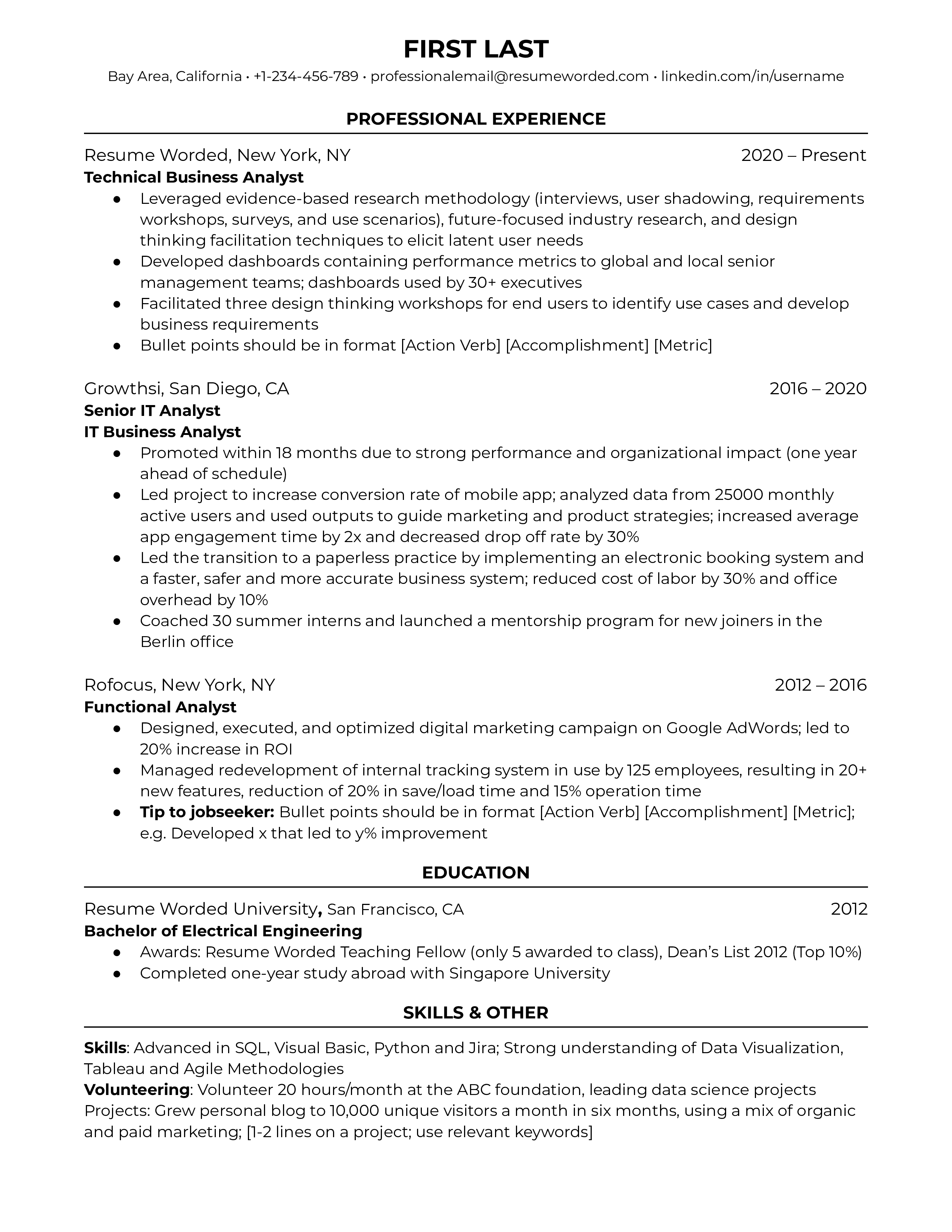 Technical business analyst resume with relevant metrics, technical skills, and work history