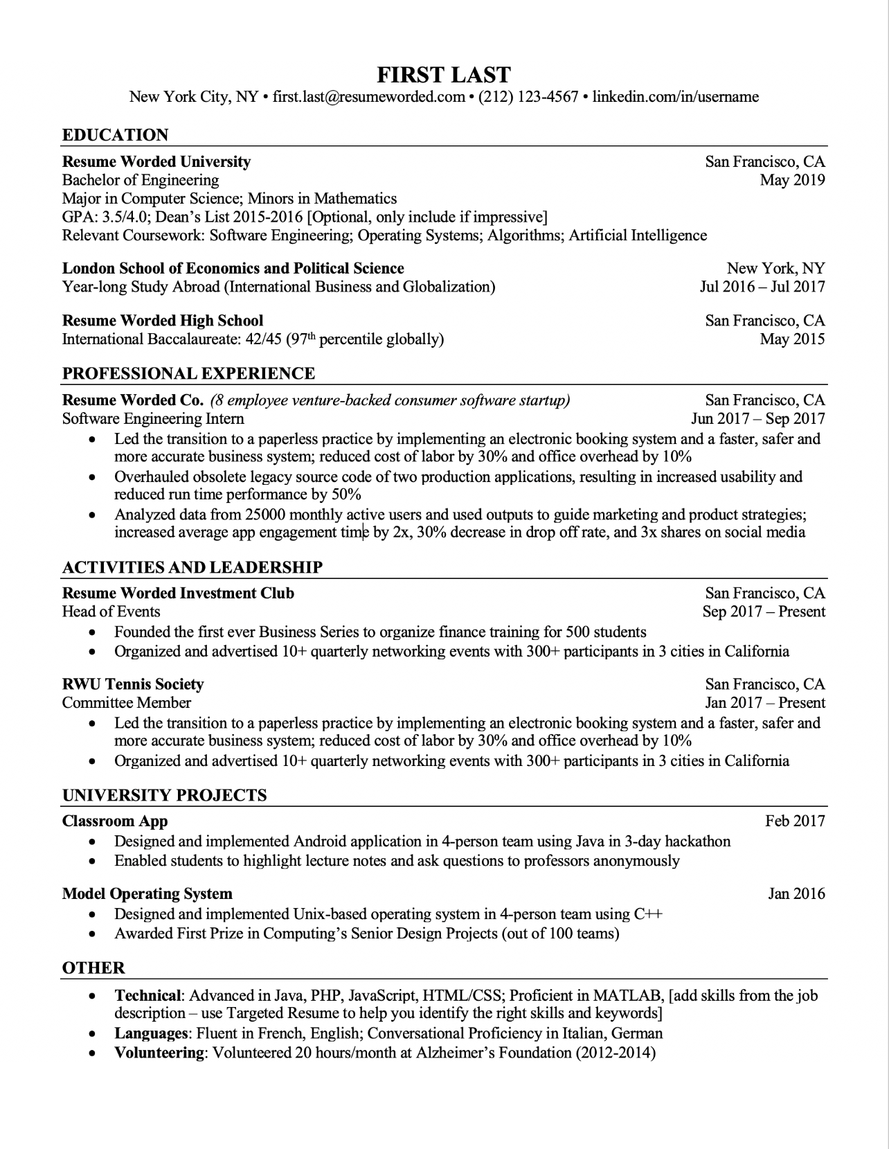 Professional ATS Resume Templates for Experienced Hires and ...