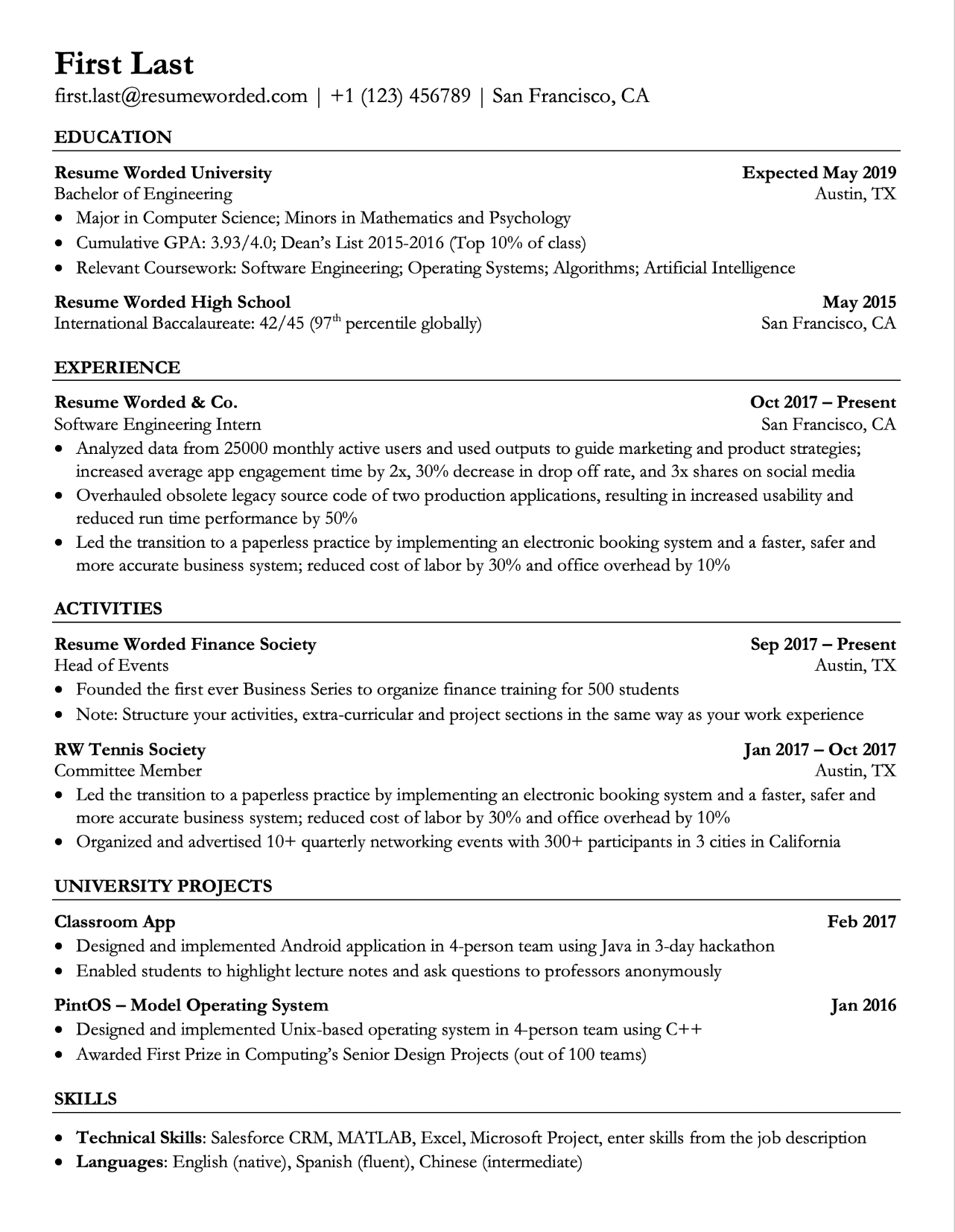 Alternate Resume Template For Students With Projects And Extracurriculars