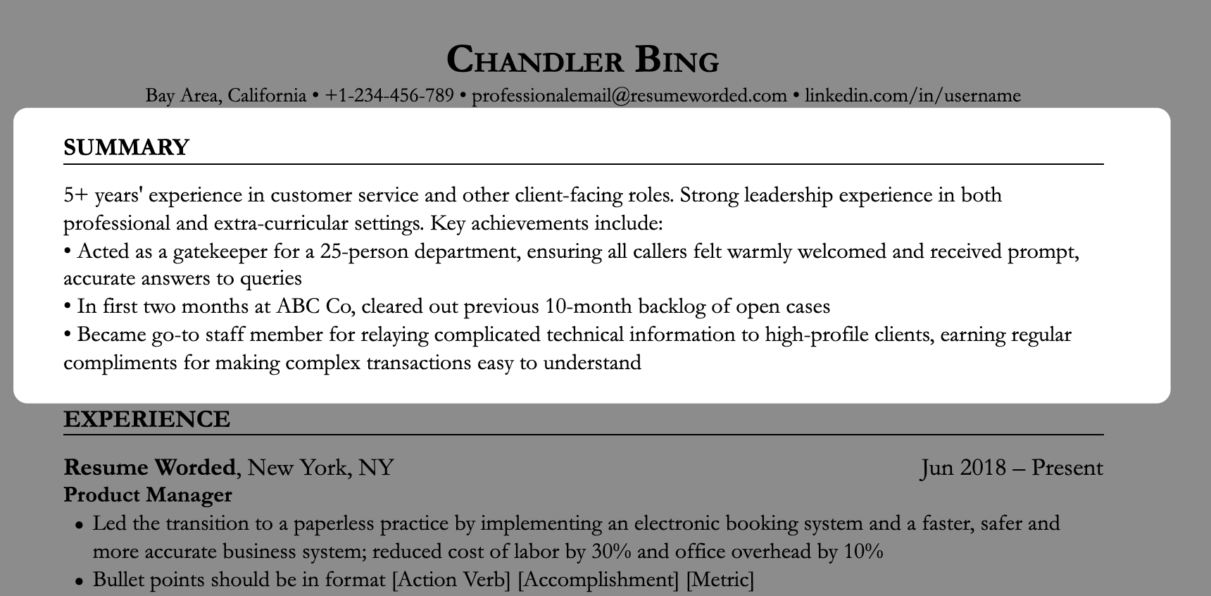 Resume summary example of mid-level customer service employee, highlighting strong accomplishments