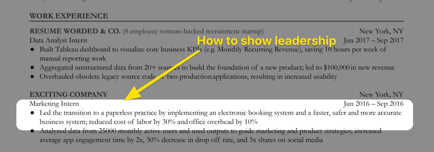 Leadership skills on resume example