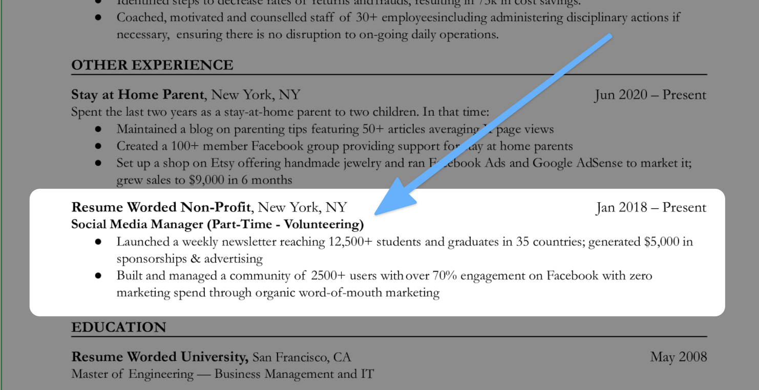 An example of how to include volunteering experience on your stay at home mom resume