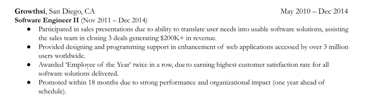 Example of a resume's role that highlights 6 bullet points