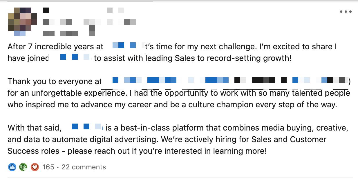 Sample LinkedIn post to announce a new job