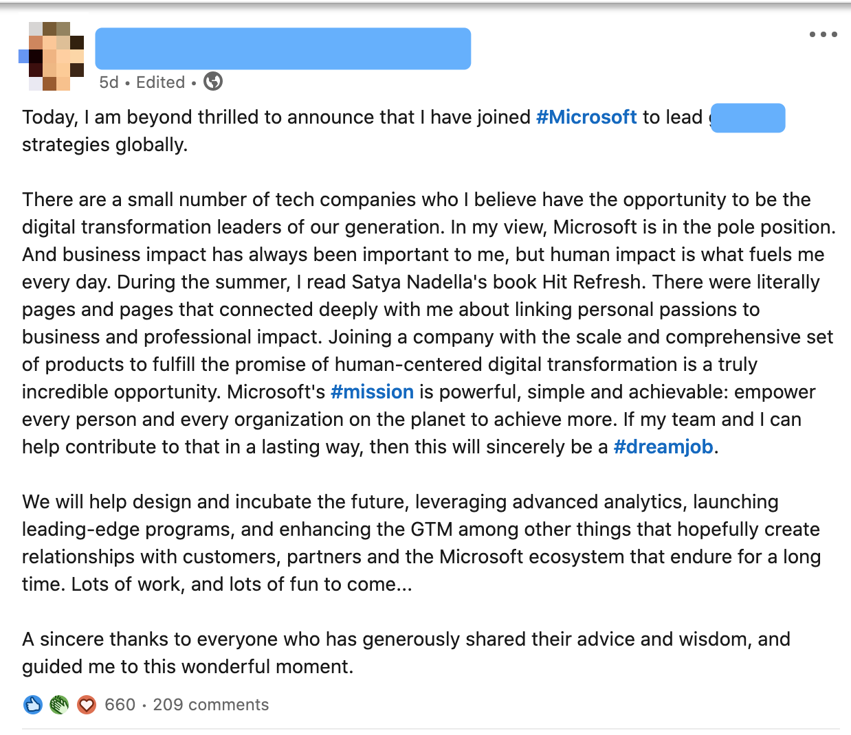 Announcing a new job on LinkedIn in a post, while thanking your network