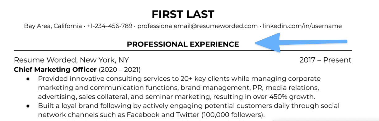 Use standard work experience section titles on your resume