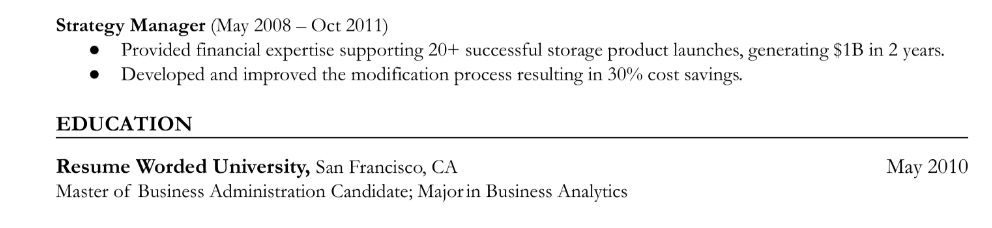 Resume section title for an education section