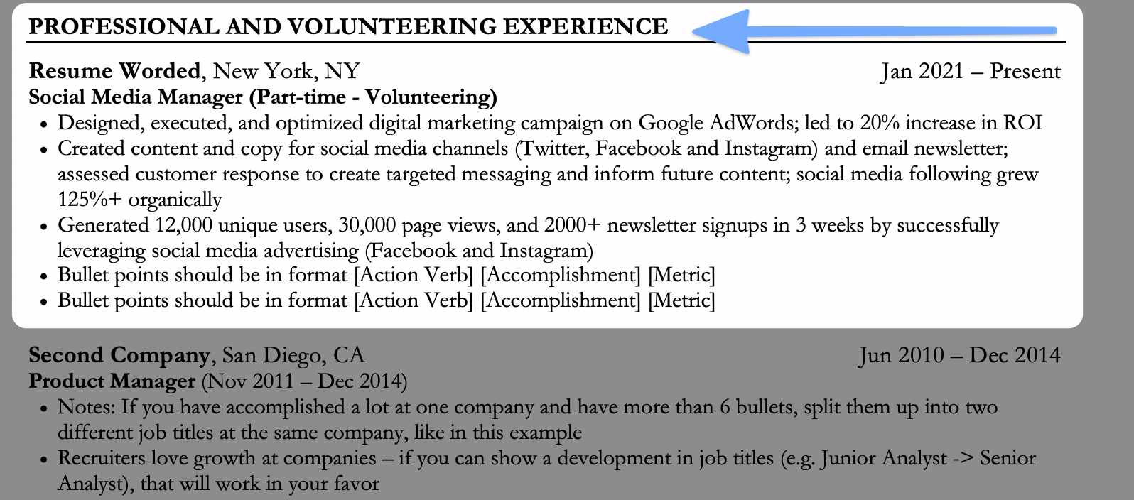 Combining two section titles into one on your resume