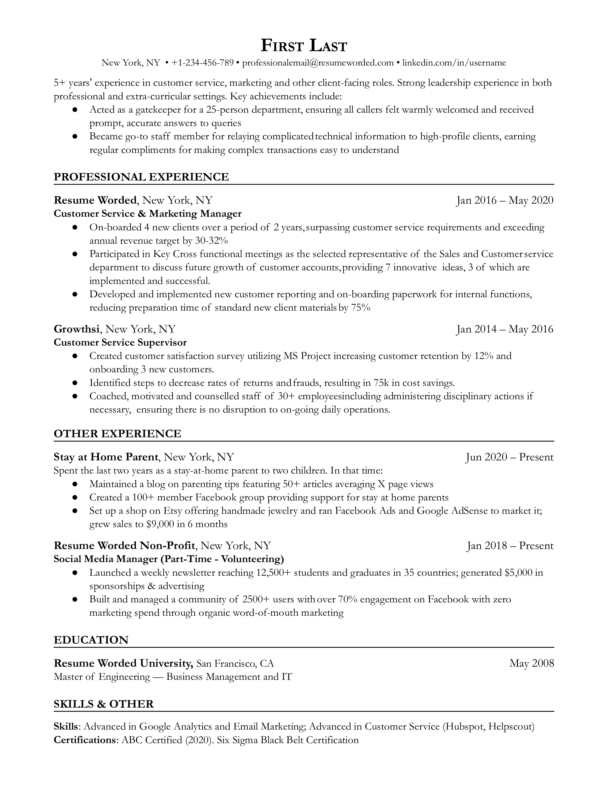 A sample resume template and sample for stay at home moms returning to the workforce in Google Docs, Word or PDF format