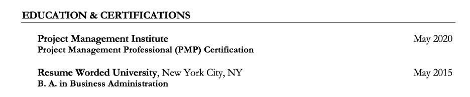 Example of an education and certification section title