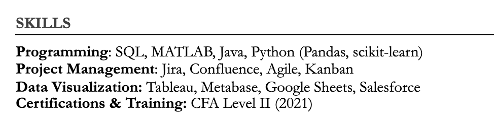 Example of how to title your resume skills section