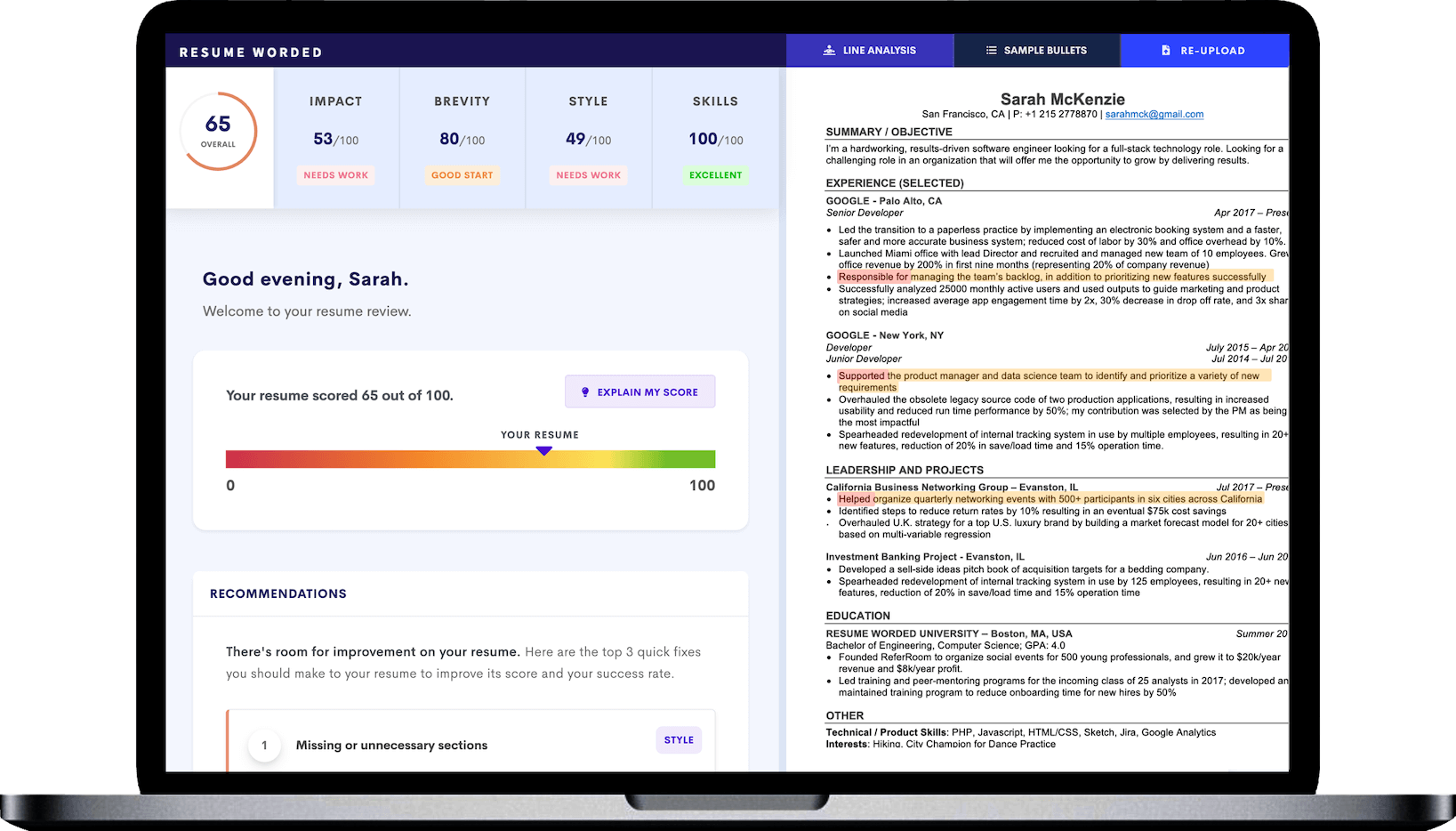 Score My Resume is a free, AI-powered tool that will analyze your stay at home mom or parent resume